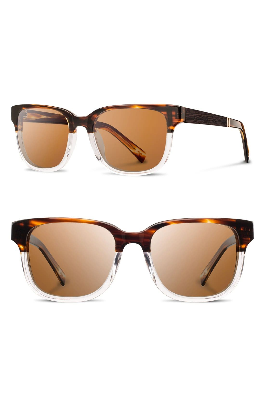 SHWOOD 'Prescott' 52mm Polarized Acetate & Wood Sunglasses