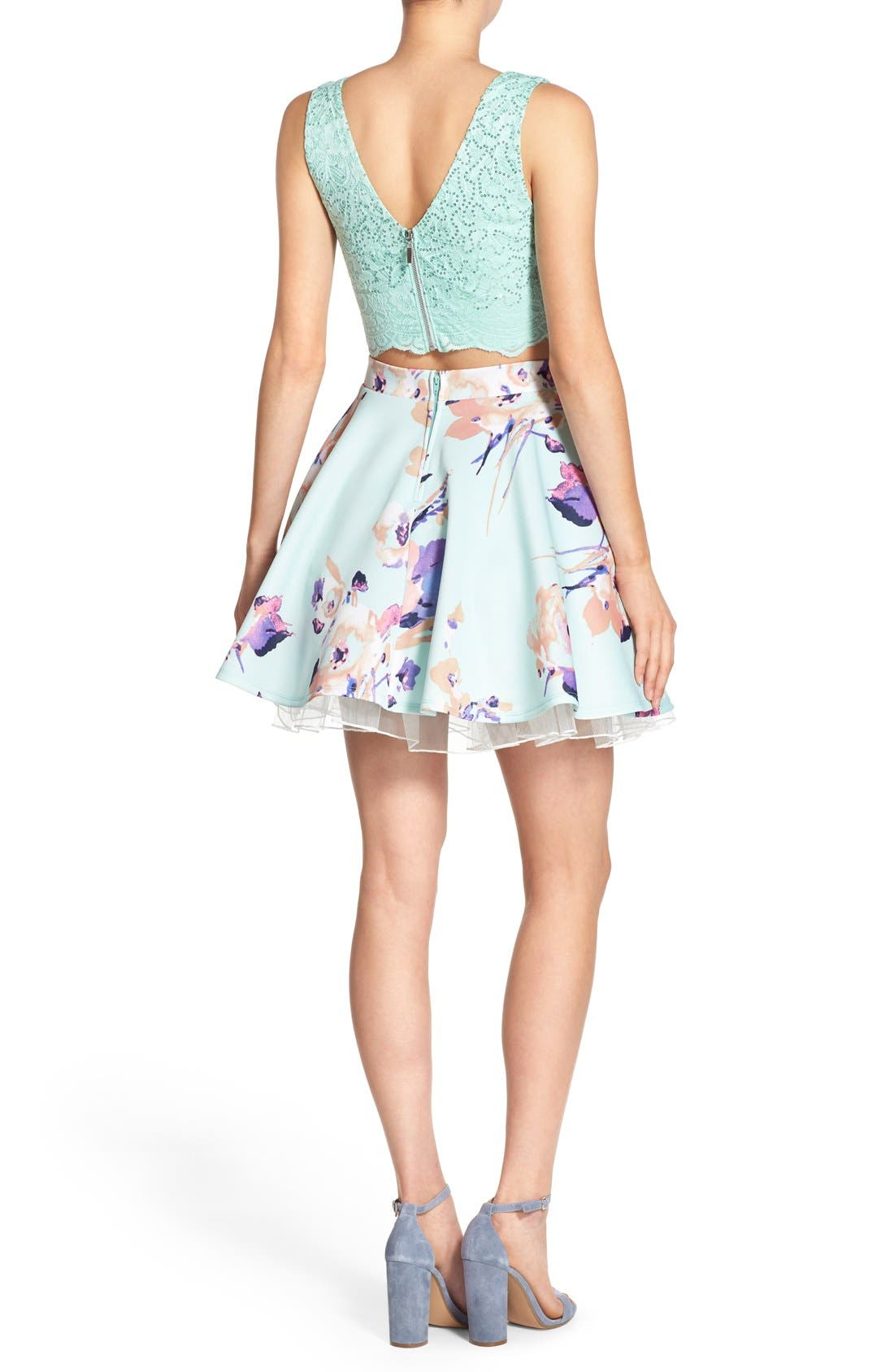 Alternate Image 2  - Way-In Lace Bodice Floral Print Two-Piece Dress