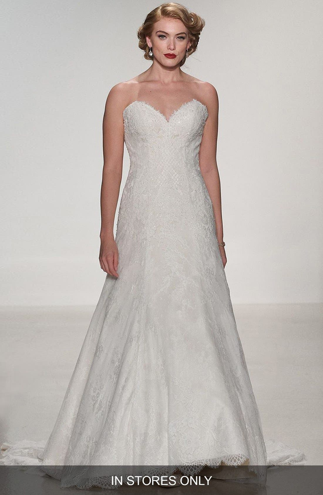 Matthew Christopher 'Adaline' Strapless Lace A-Line Gown (In Stores Only)