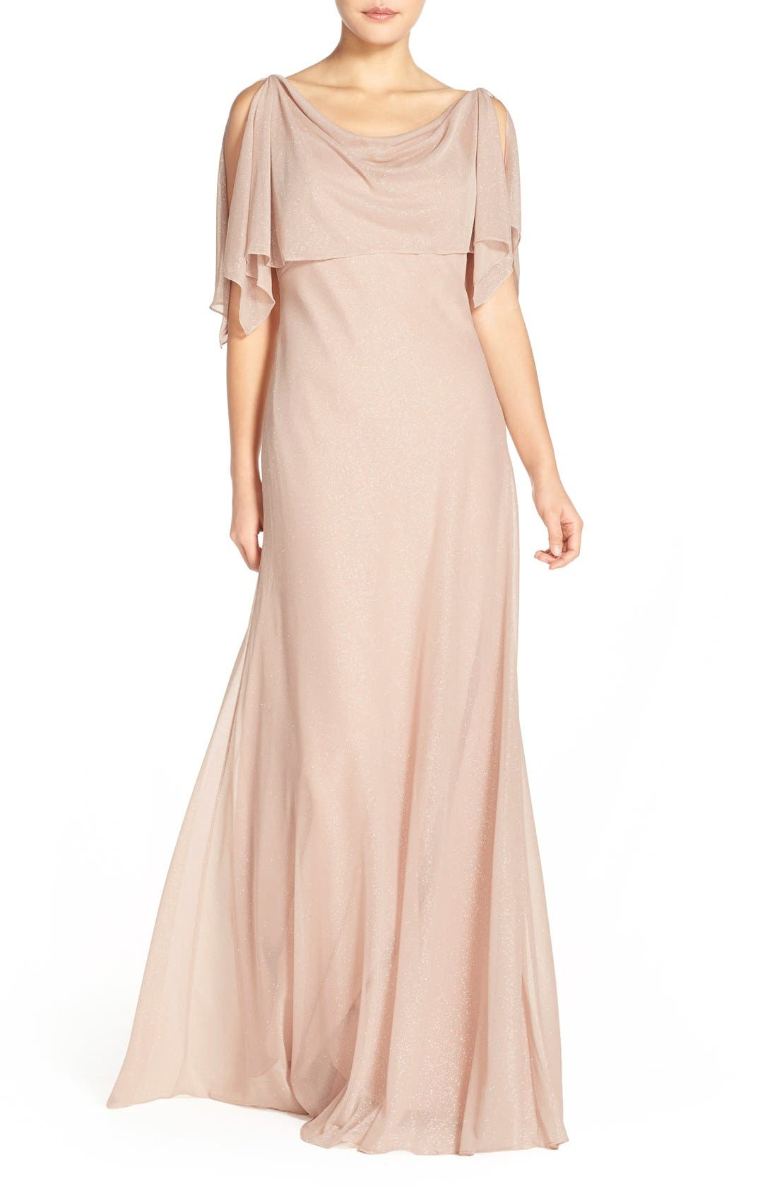 Jenny Yoo 'Devon' Glitter Knit Gown with Detachable Capelet