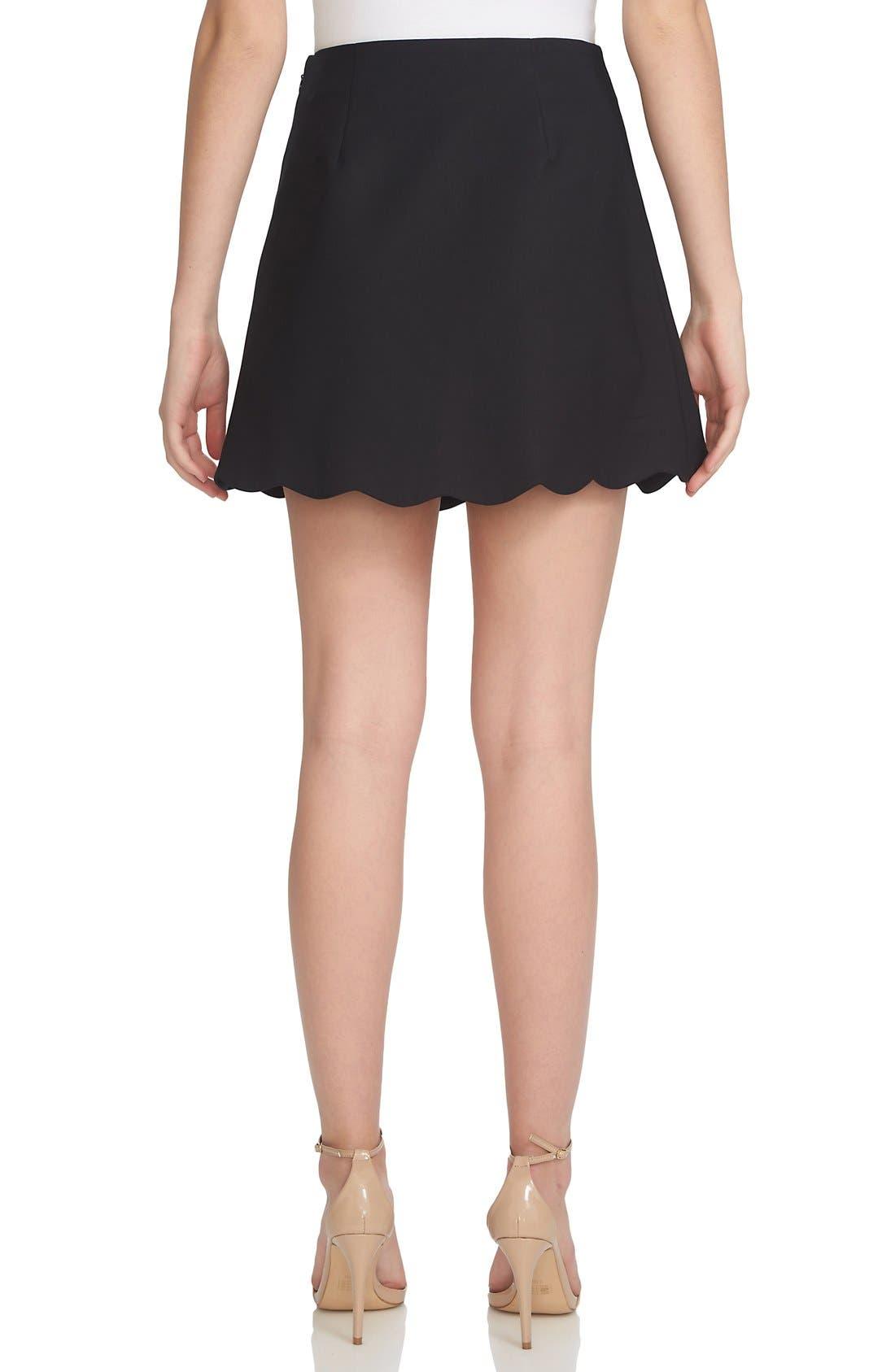 Alternate Image 2  - 1.STATE Scallop Hem Wrap Front Miniskirt