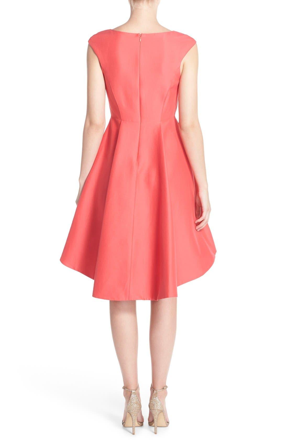Alternate Image 2  - Halston Heritage Cap Sleeve High/Low Fit & Flare Dress