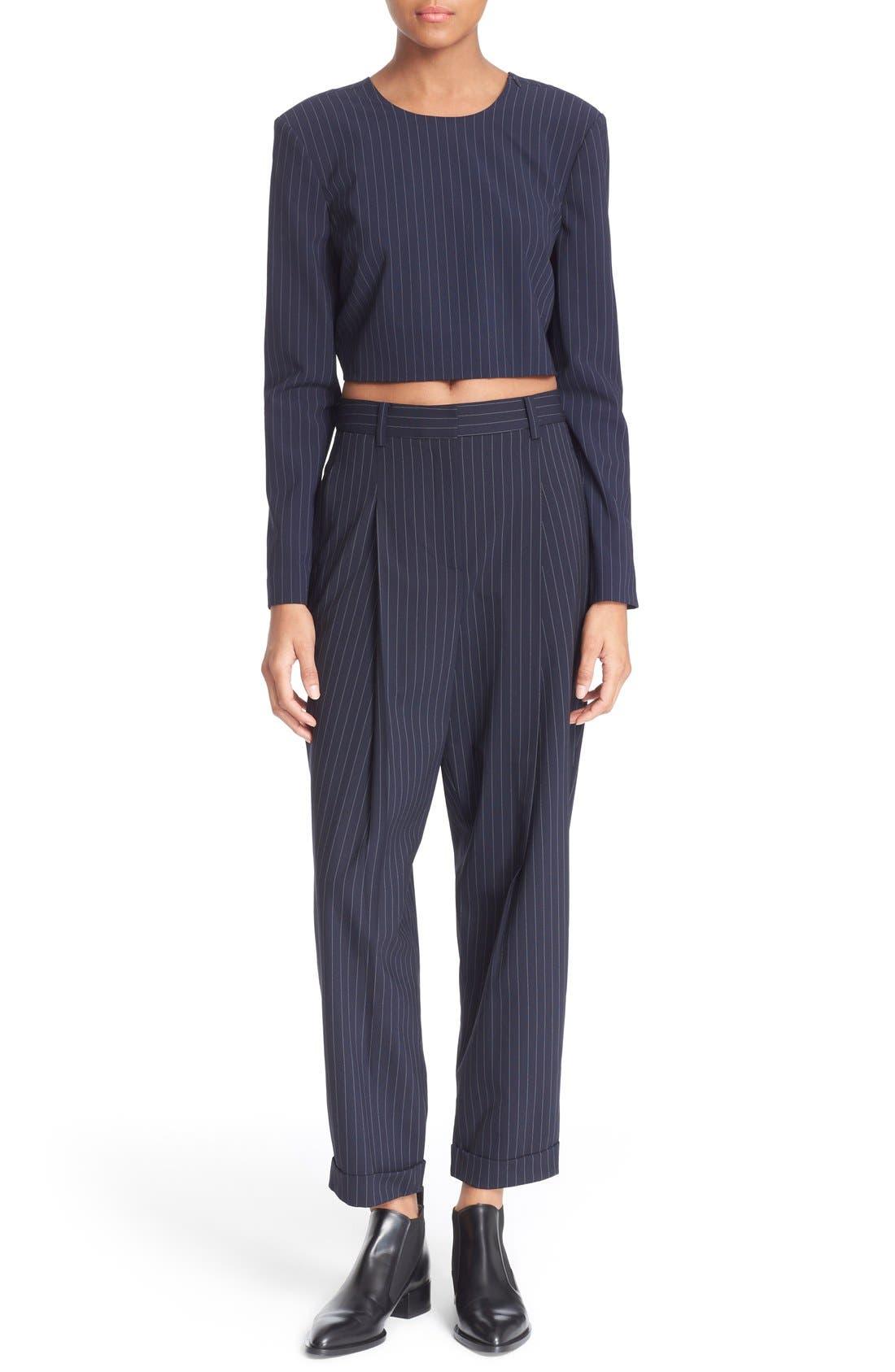 Alternate Image 2  - DKNY Pinstripe Cuff Pants