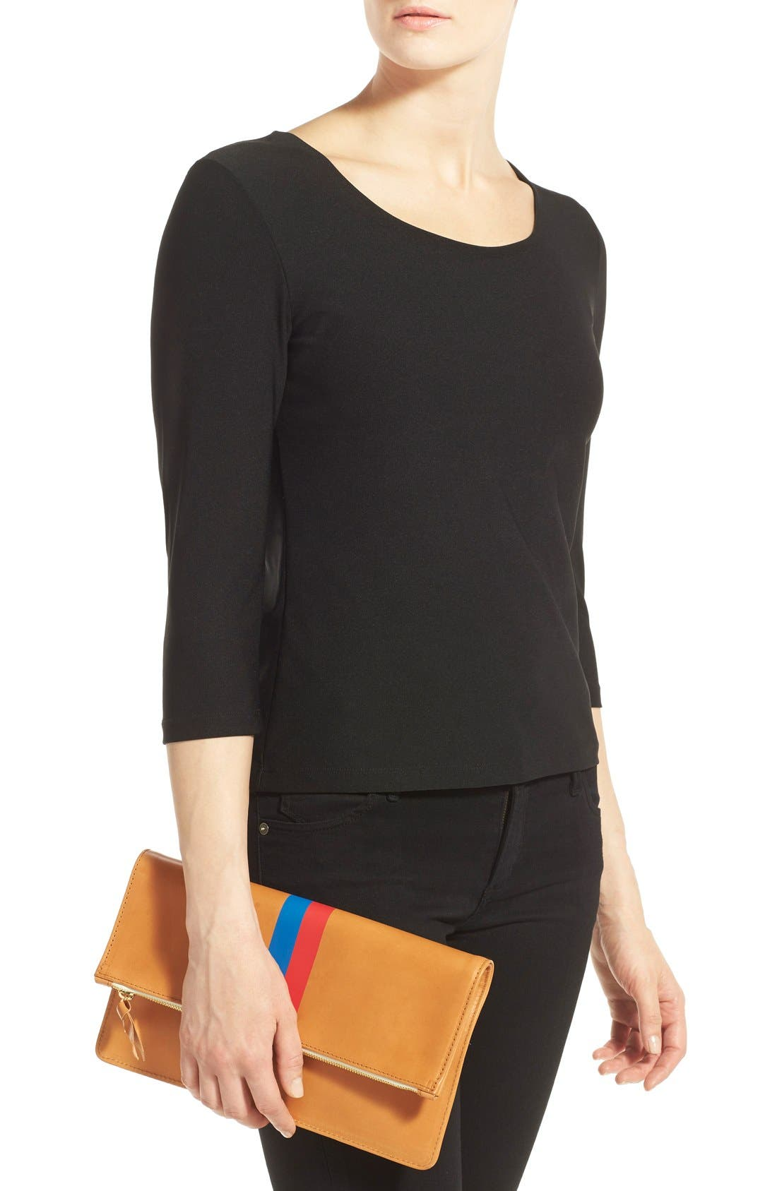 Alternate Image 2  - Clare V. 'Margot' Stripe Leather Foldover Clutch