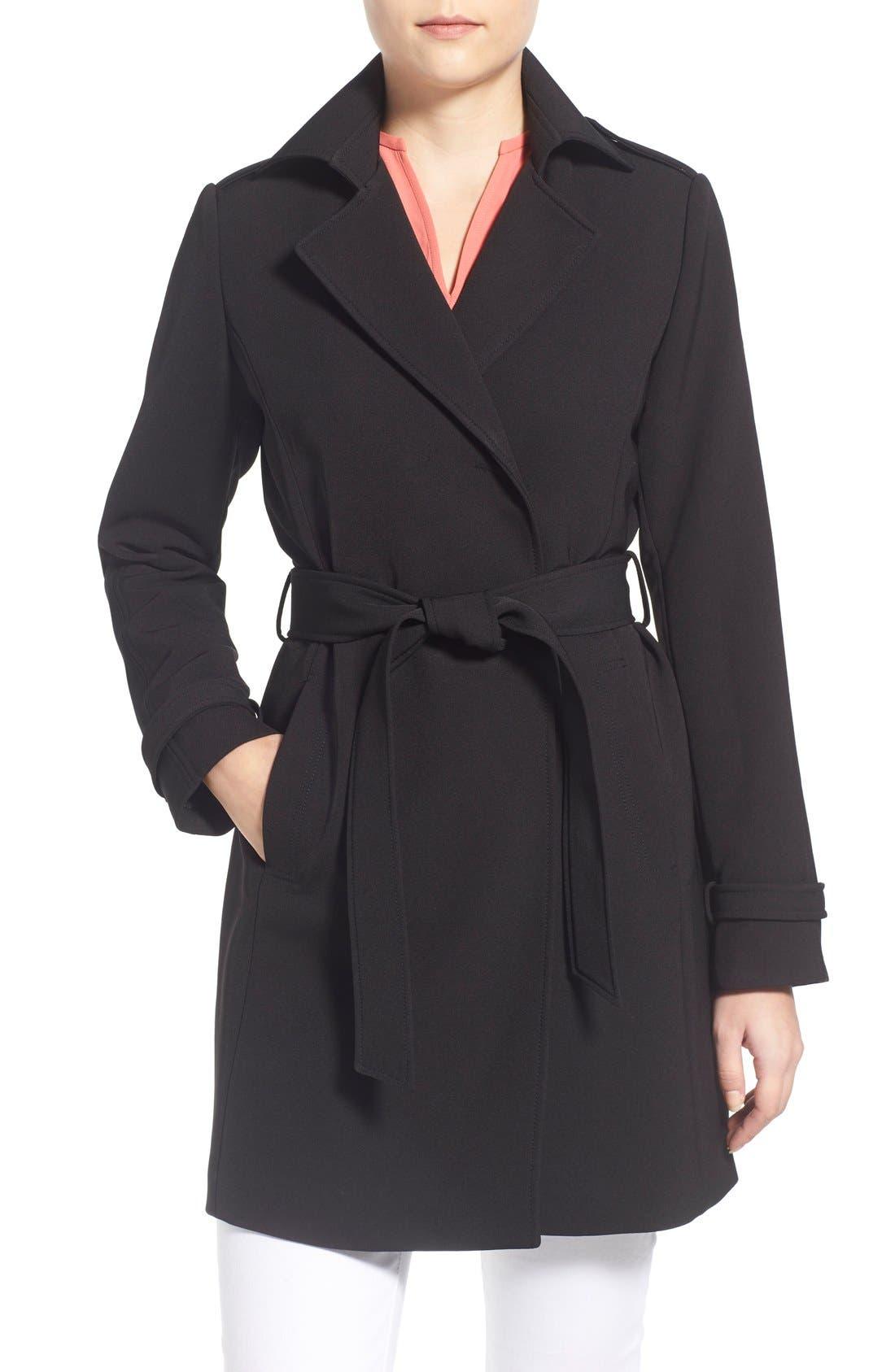 T Tahari Crepe Trench Coat (Regular & Petite)