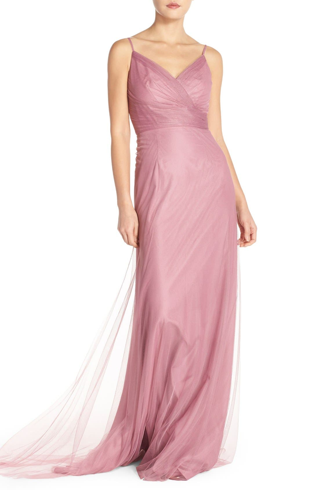 Alternate Image 1 Selected - Monique Lhuillier Bridesmaids Surplice Tulle Gown