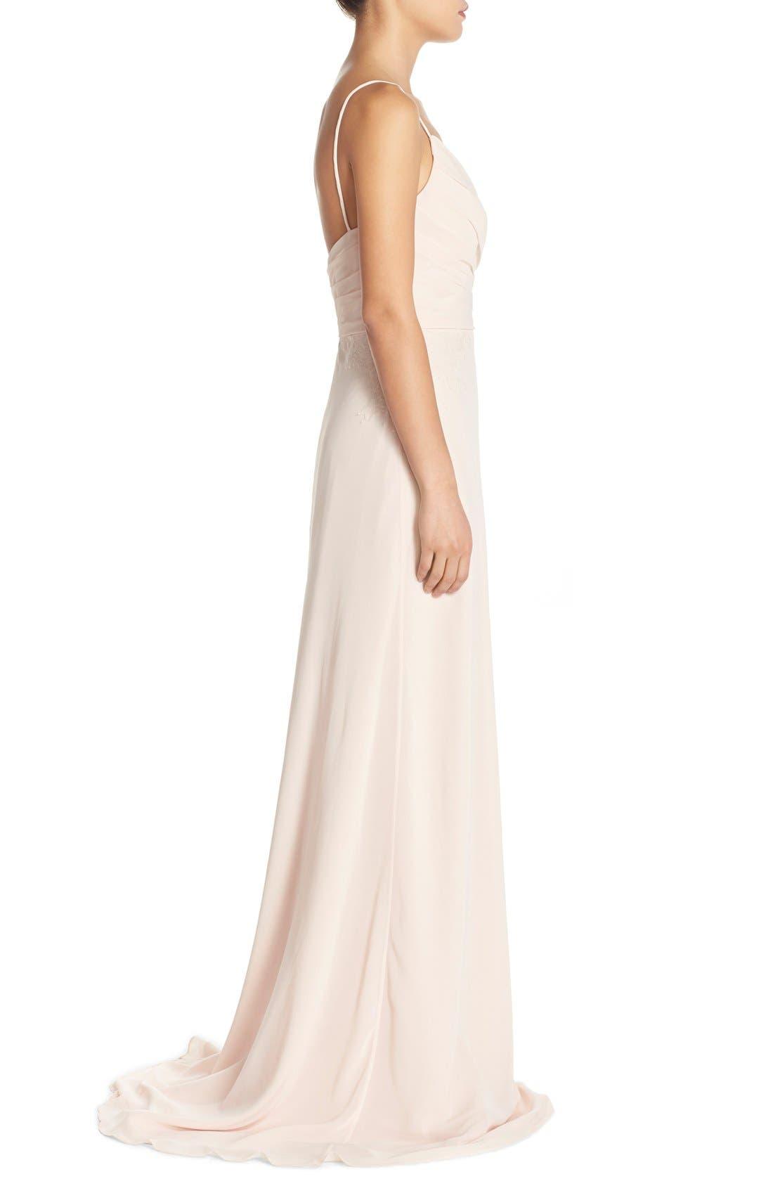 Alternate Image 3  - Monique Lhuillier Bridesmaids Lace Trim Chiffon Surplice Gown