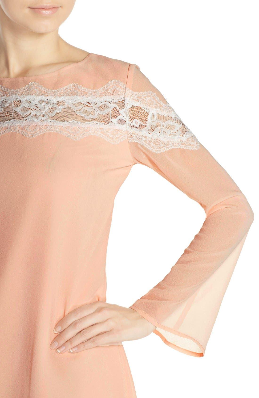 Alternate Image 5  - Chelsea28 Lace Trim Chiffon Shift Dress