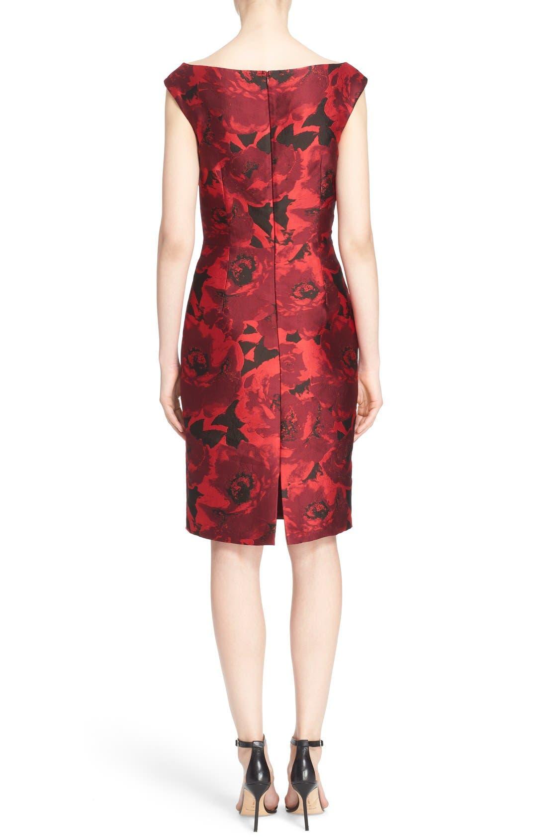 Alternate Image 2  - St. John Collection 'Ombré Peony' Jacquard Sheath Dress