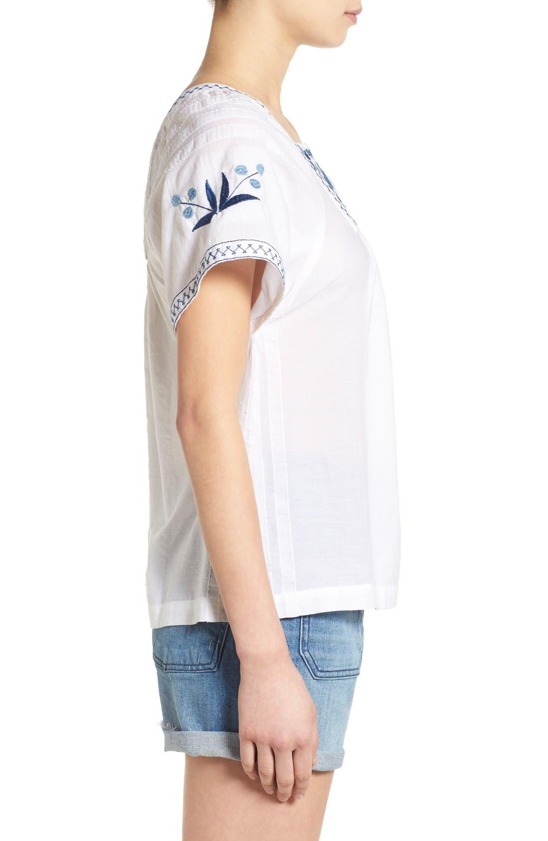 Alternate Image 3  - Madewell Embroidered Short Sleeve Peasant Top