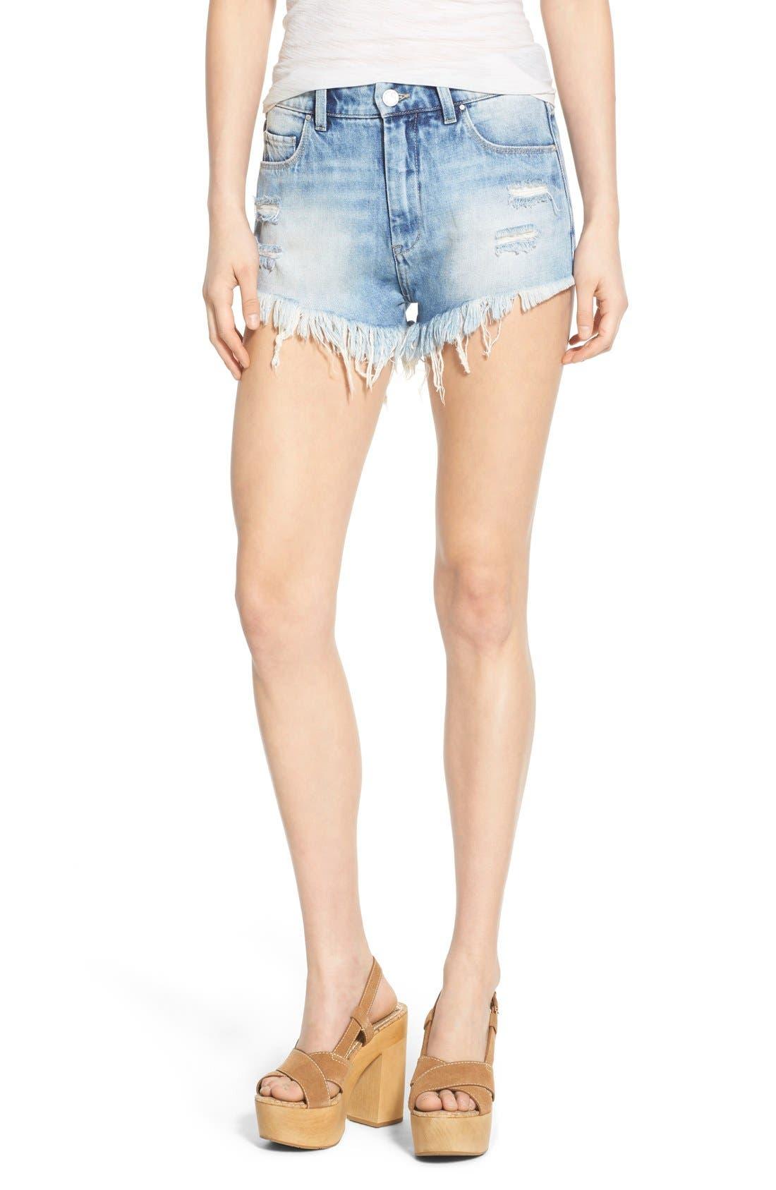Main Image - BLANKNYC Distressed Cutoff Denim Shorts (All Night Long)