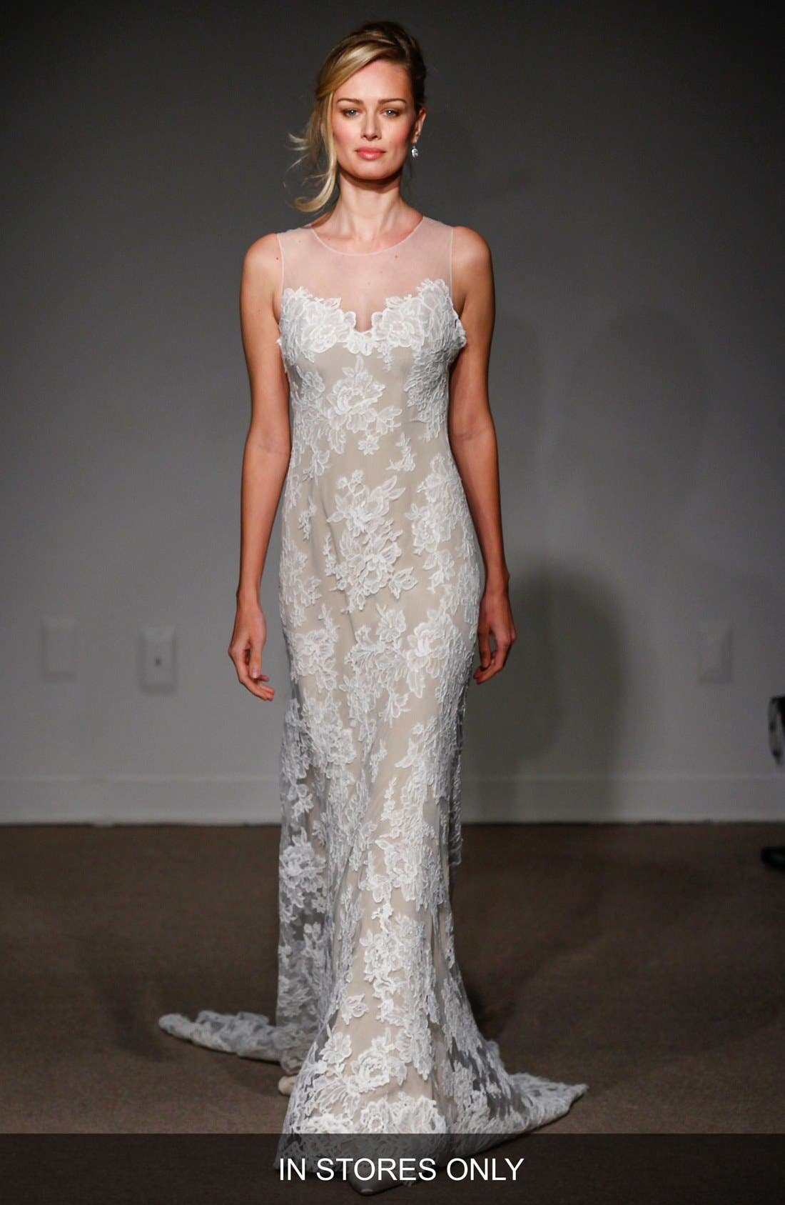 Anna Maier Couture Lola Illusion Neck Sleeveless Lace Column Gown (In Stores Only)