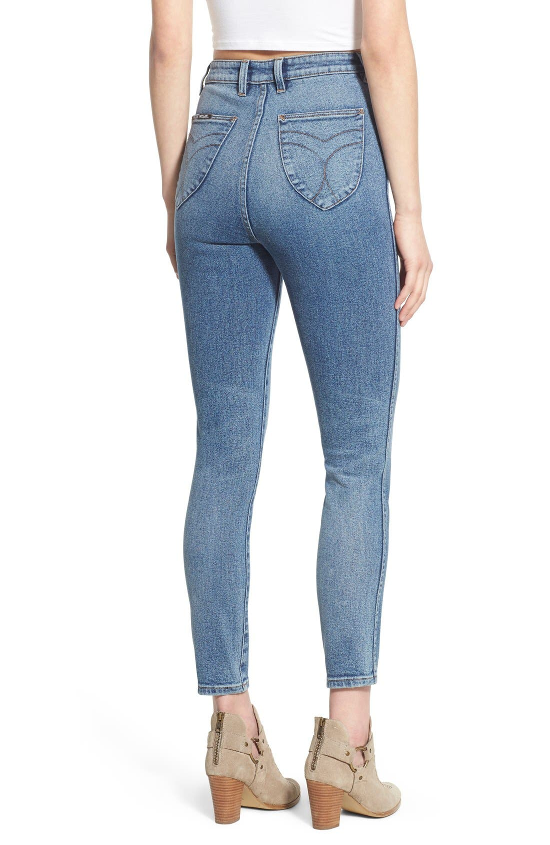 Alternate Image 2  - Rolla's 'East Coast' High Rise Ankle Skinny Jeans (Folk Blue)