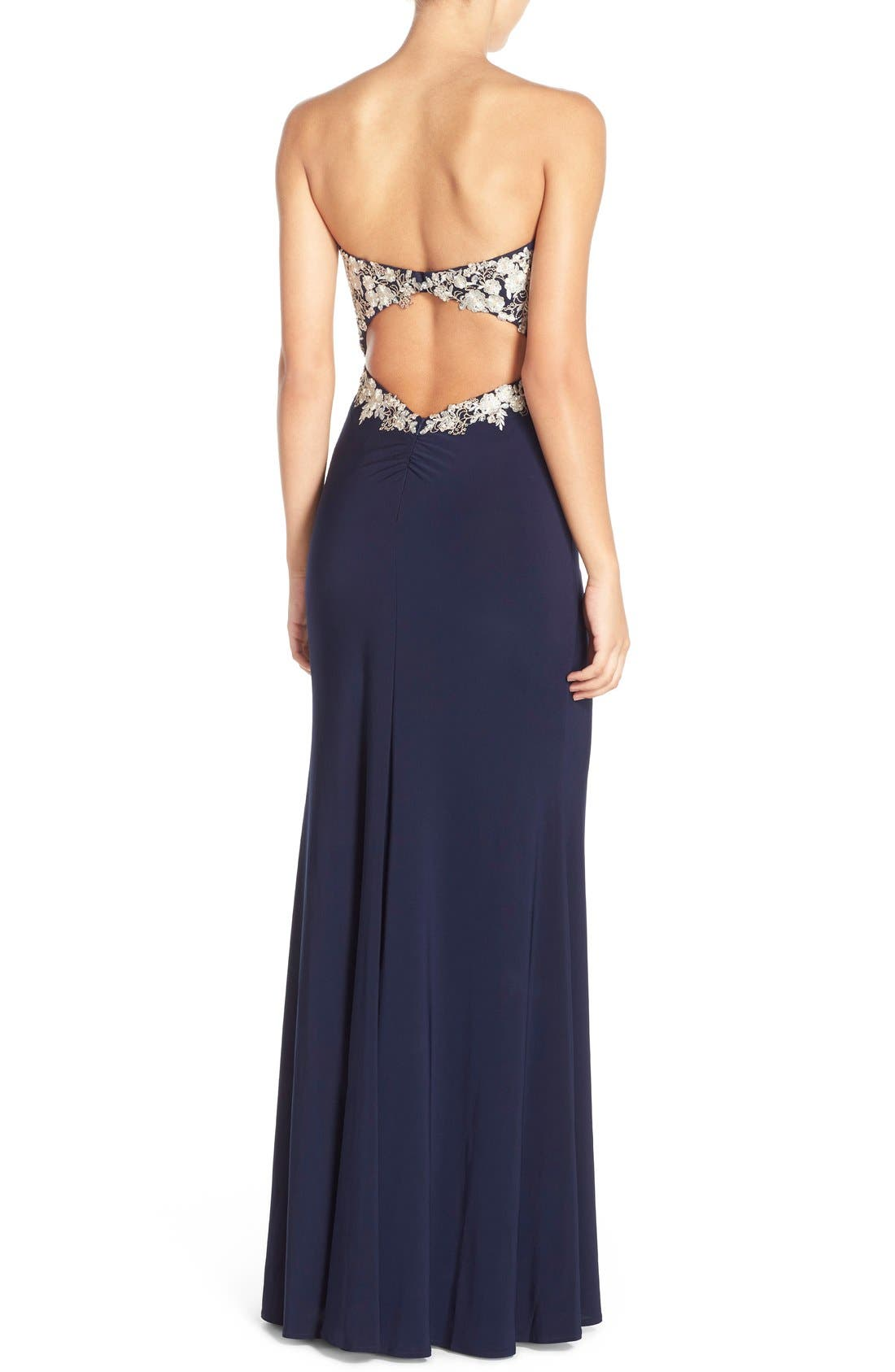 Alternate Image 2  - Faviana Embroidered Strapless Jersey Gown
