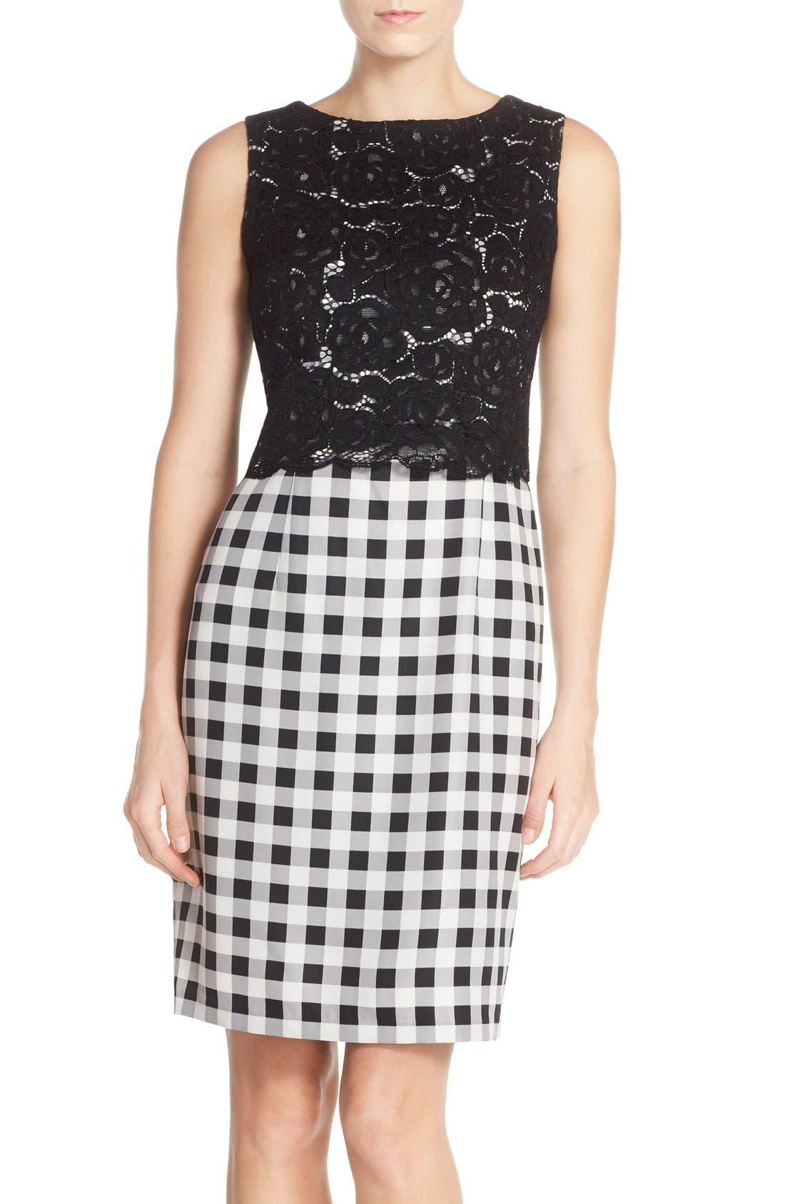 Ellen Tracy Lace & Gingham Sheath Dress (Regular & Petite)