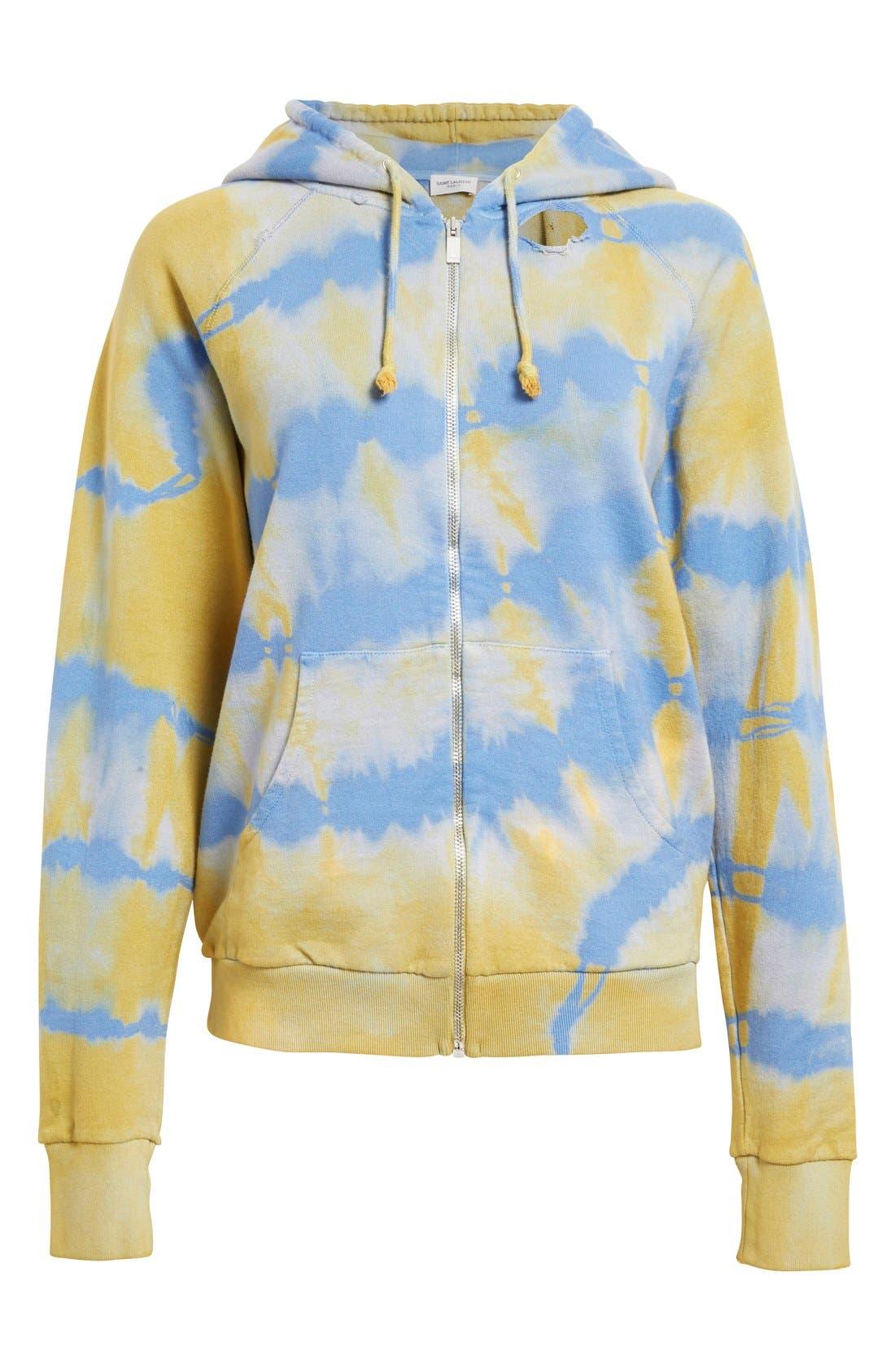 Alternate Image 4  - Saint Laurent Destroyed Tie Dye Cotton Hoodie