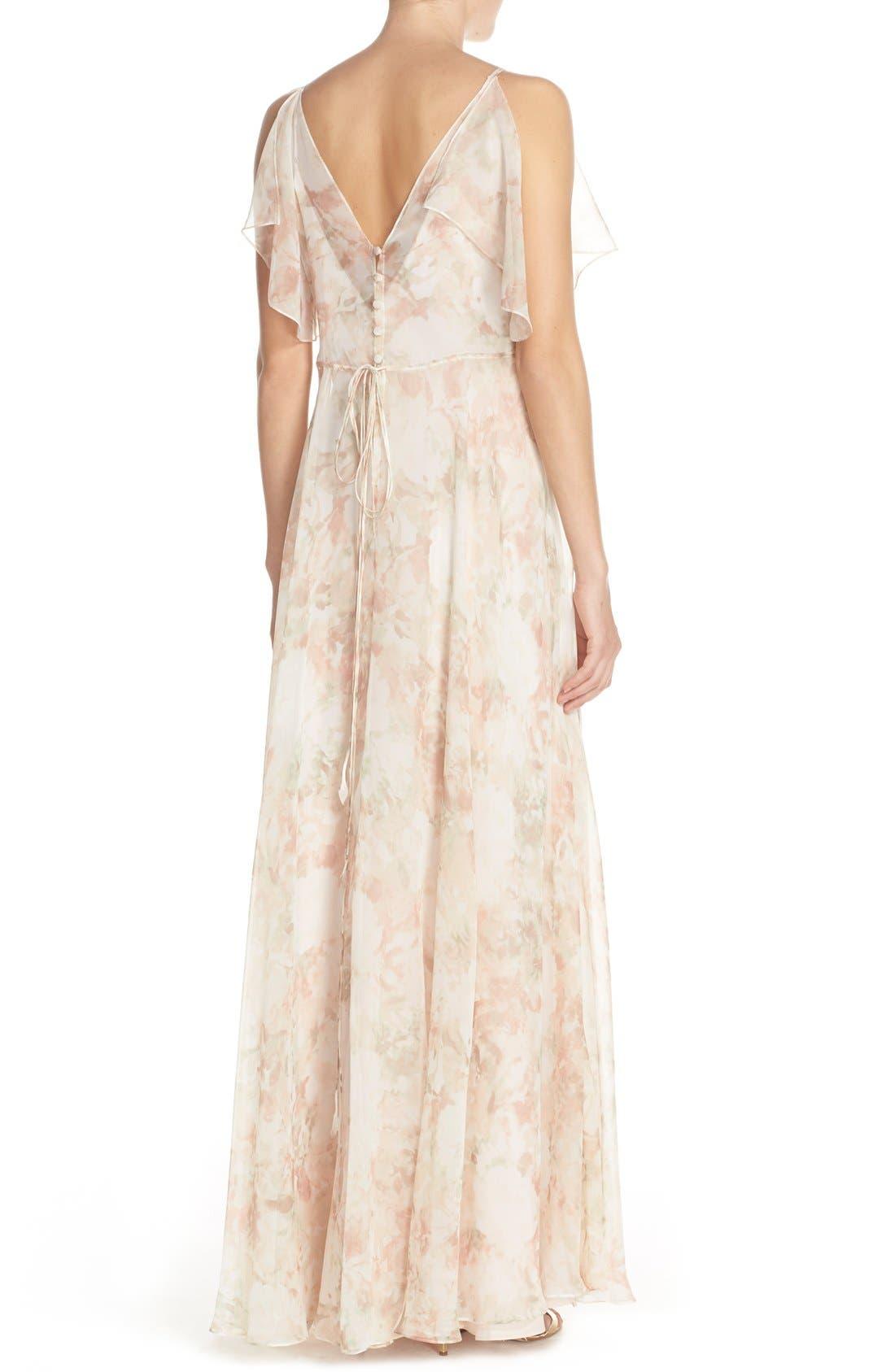 Alternate Image 2  - Jenny Yoo 'Cassie' Print Flutter Sleeve Chiffon Maxi Dress