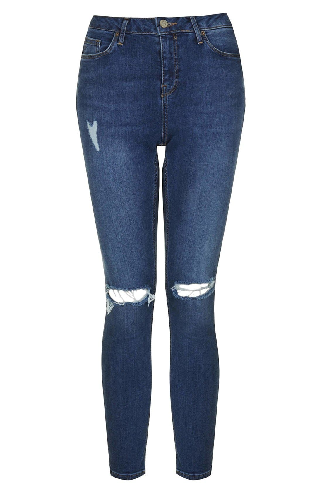 Alternate Image 4  - Topshop Moto 'Jamie' Distressed Skinny Jeans