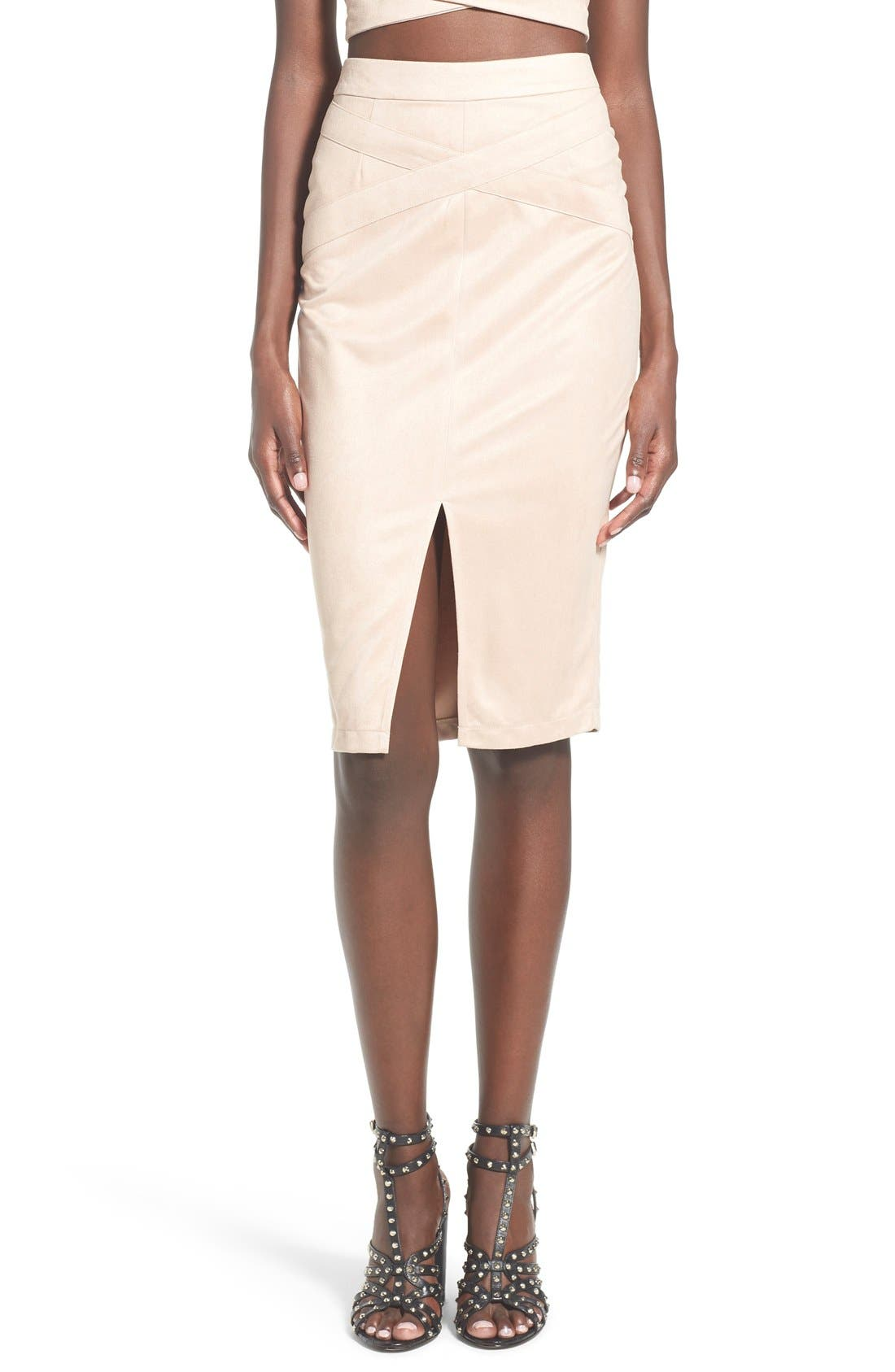 Alternate Image 1 Selected - Missguided Faux Suede Midi Skirt