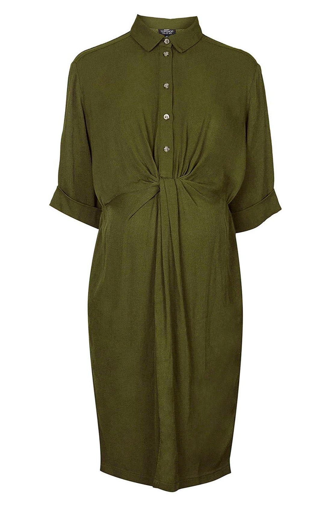 Alternate Image 1 Selected - Topshop Knot Front Maternity Shirtdress