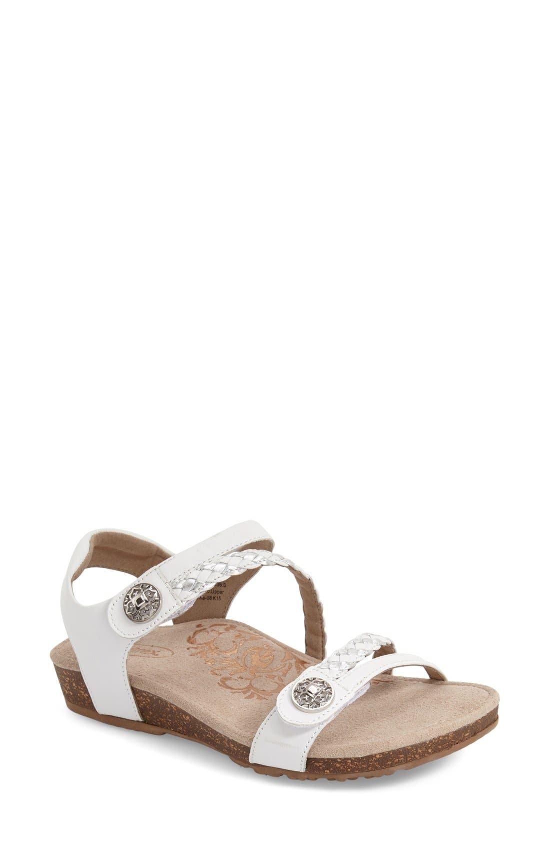 Aetrex 'Jillian' Braided Leather Strap Sandal (Women)