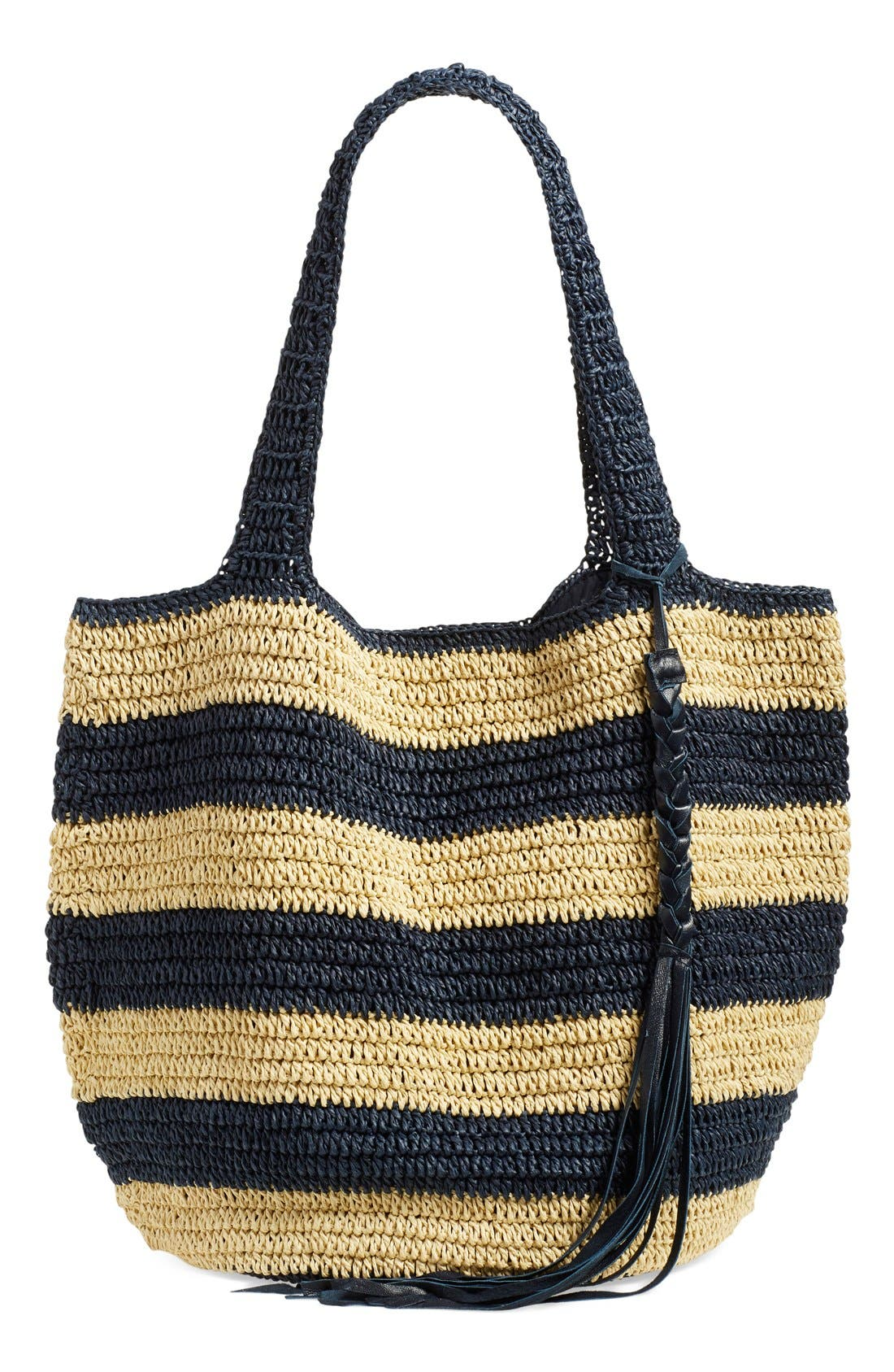 Alternate Image 1 Selected - Caslon® Stripe Crochet Straw Shoulder Bag