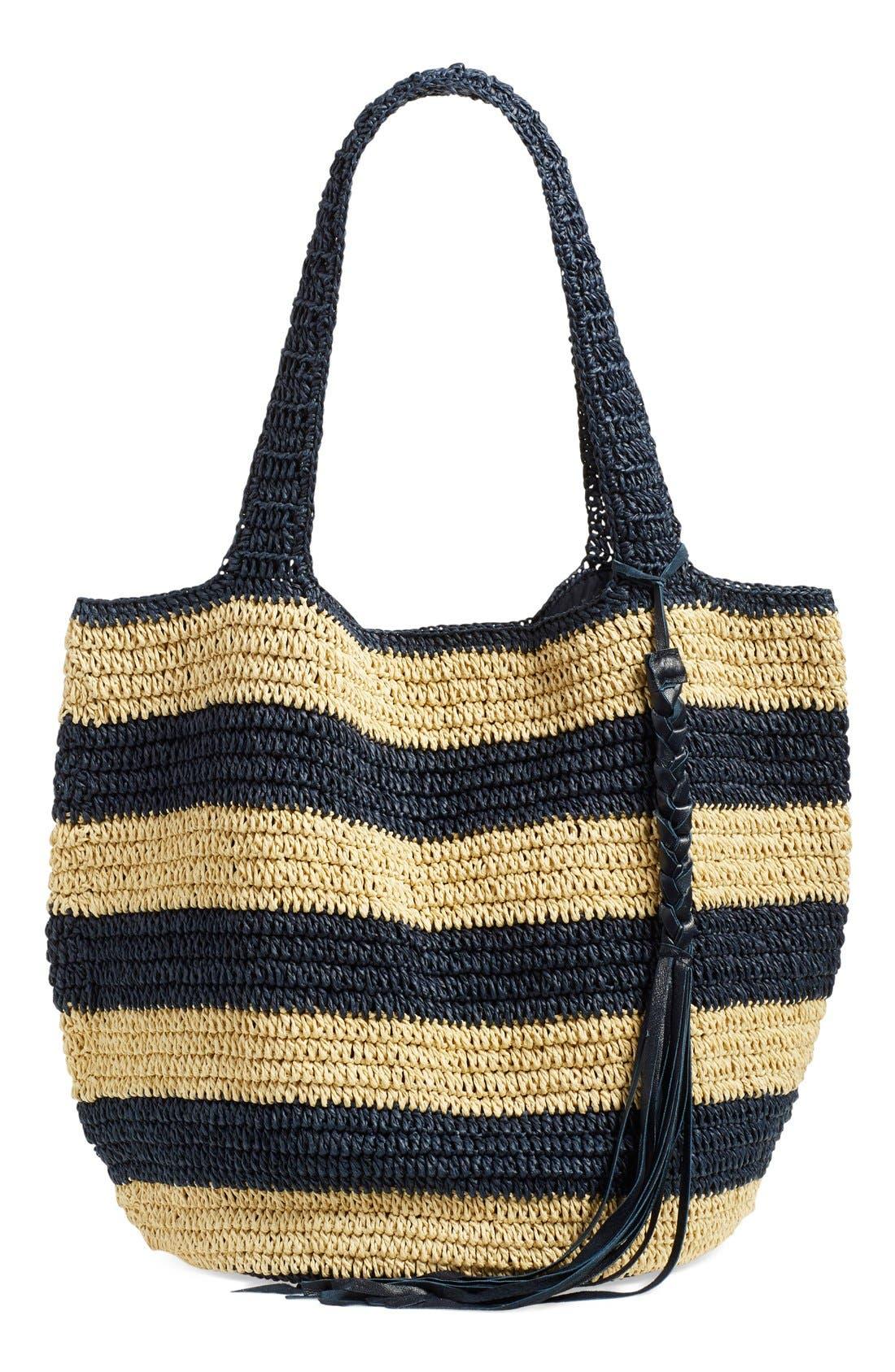 Main Image - Caslon® Stripe Crochet Straw Shoulder Bag
