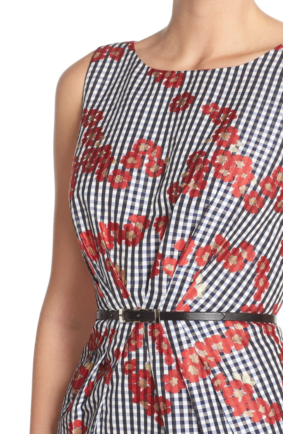 Alternate Image 4  - Adrianna Papell Floral & Gingham Jacquard Sheath Dress (Regular & Petite)