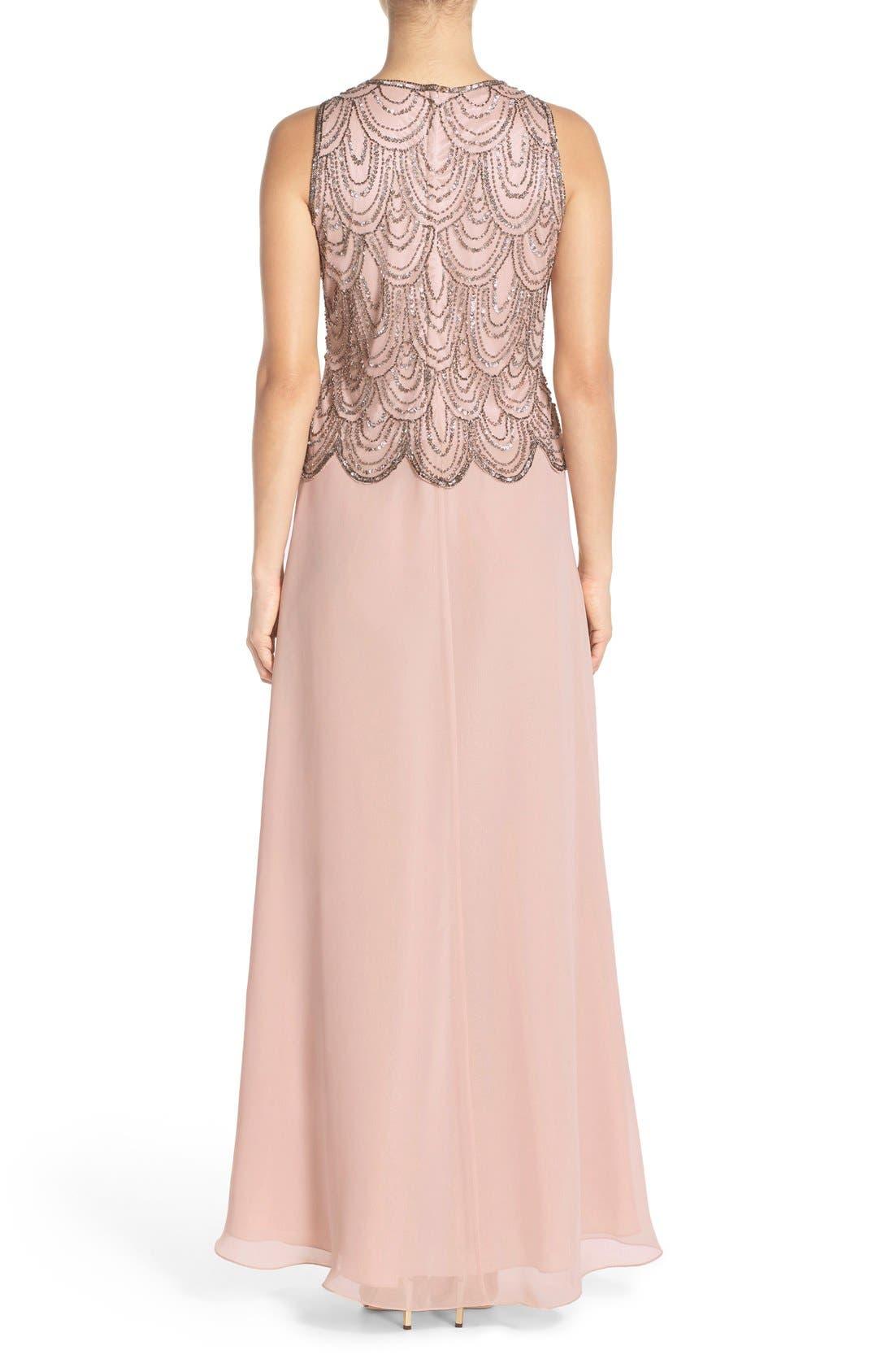 Alternate Image 2  - J Kara Scallop Embellished Popover Chiffon Gown
