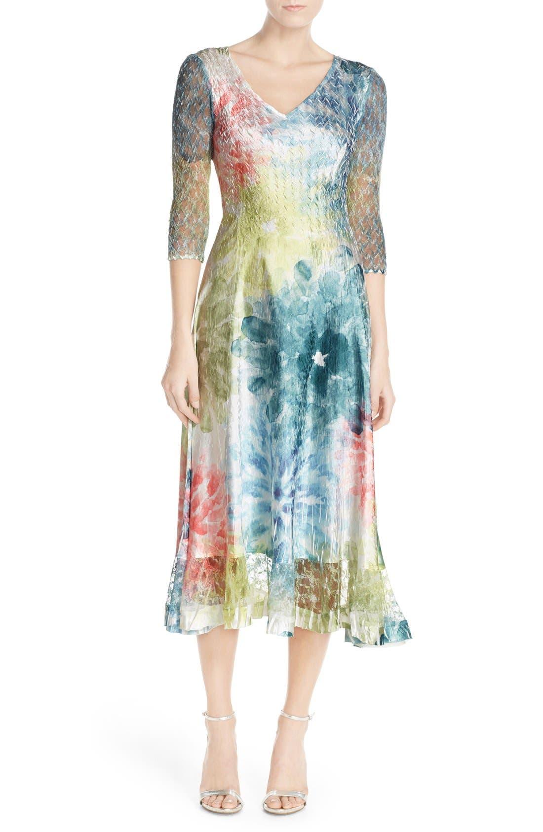 Main Image - Komarov Mixed Media A-Line Dress (Regular & Petite)