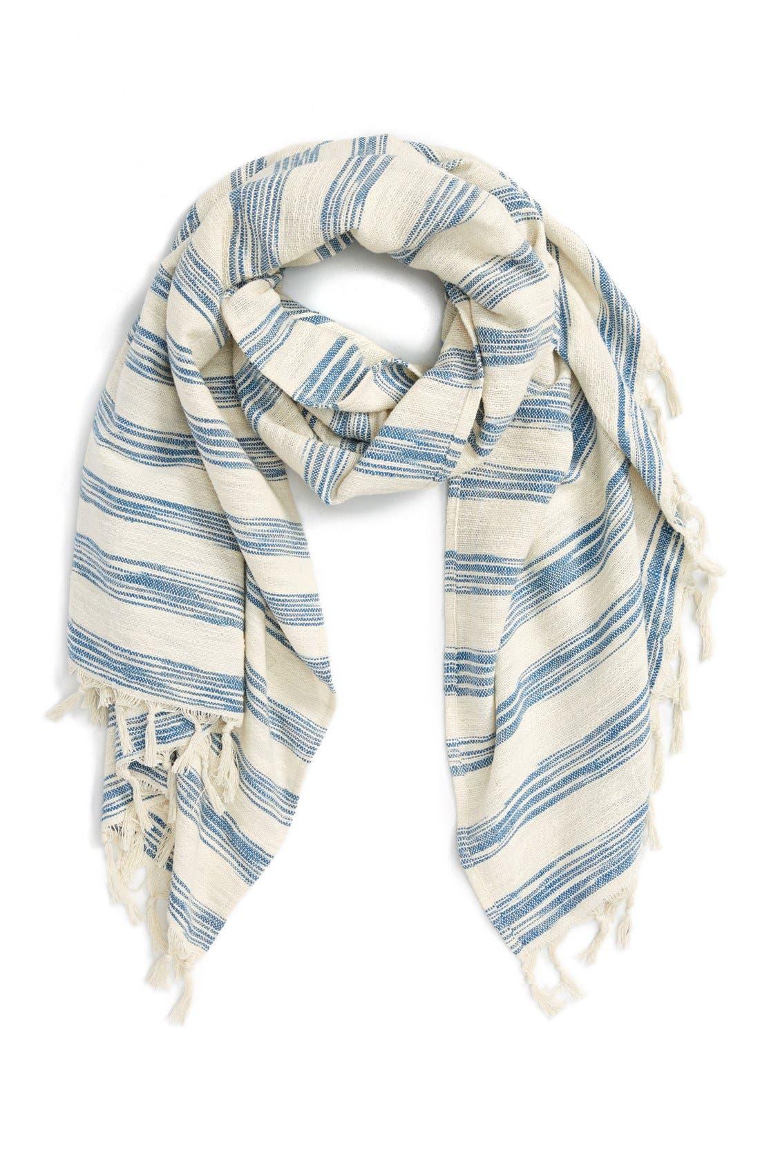 Main Image - Sole Society Stripe Fringed Cotton Scarf