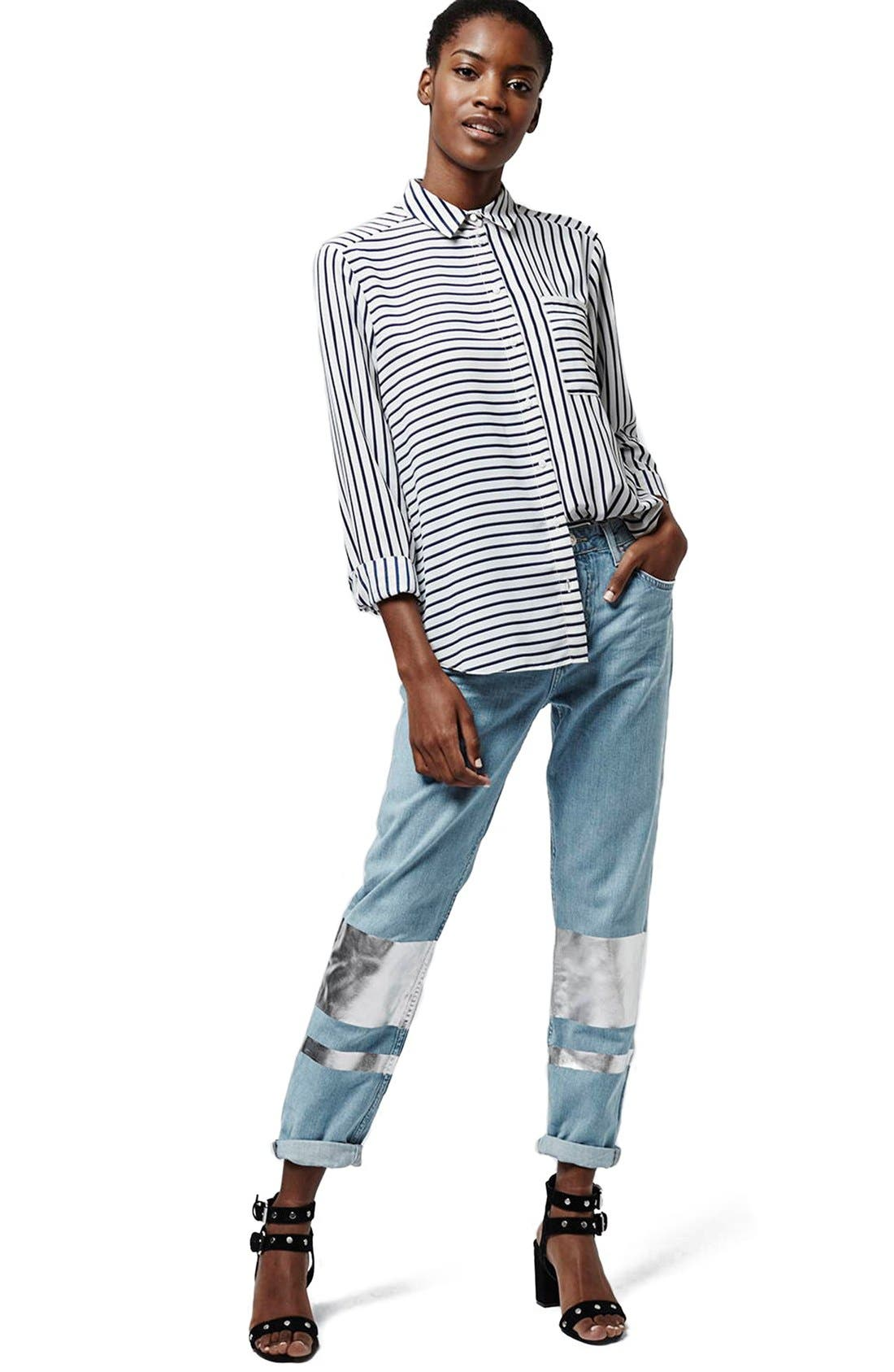 Alternate Image 2  - Topshop Silver Stripe Hologram Crop Boyfriend Jeans (Light)