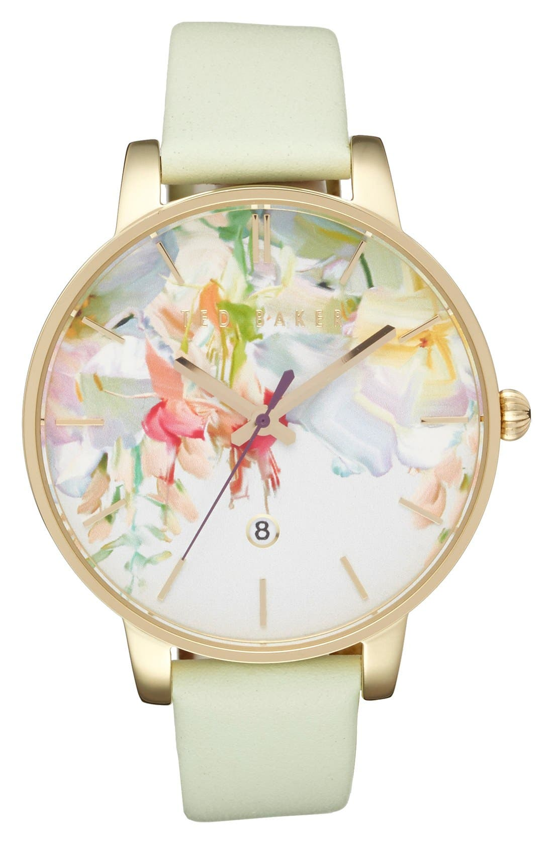 Alternate Image 1 Selected - Ted Baker Round Dial Leather Strap Watch, 40mm