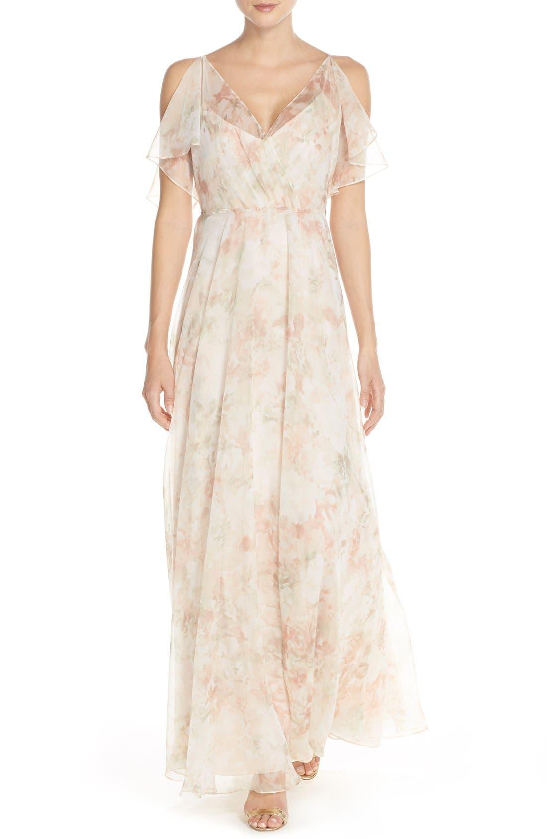 Main Image - Jenny Yoo 'Cassie' Print Flutter Sleeve Chiffon Maxi Dress