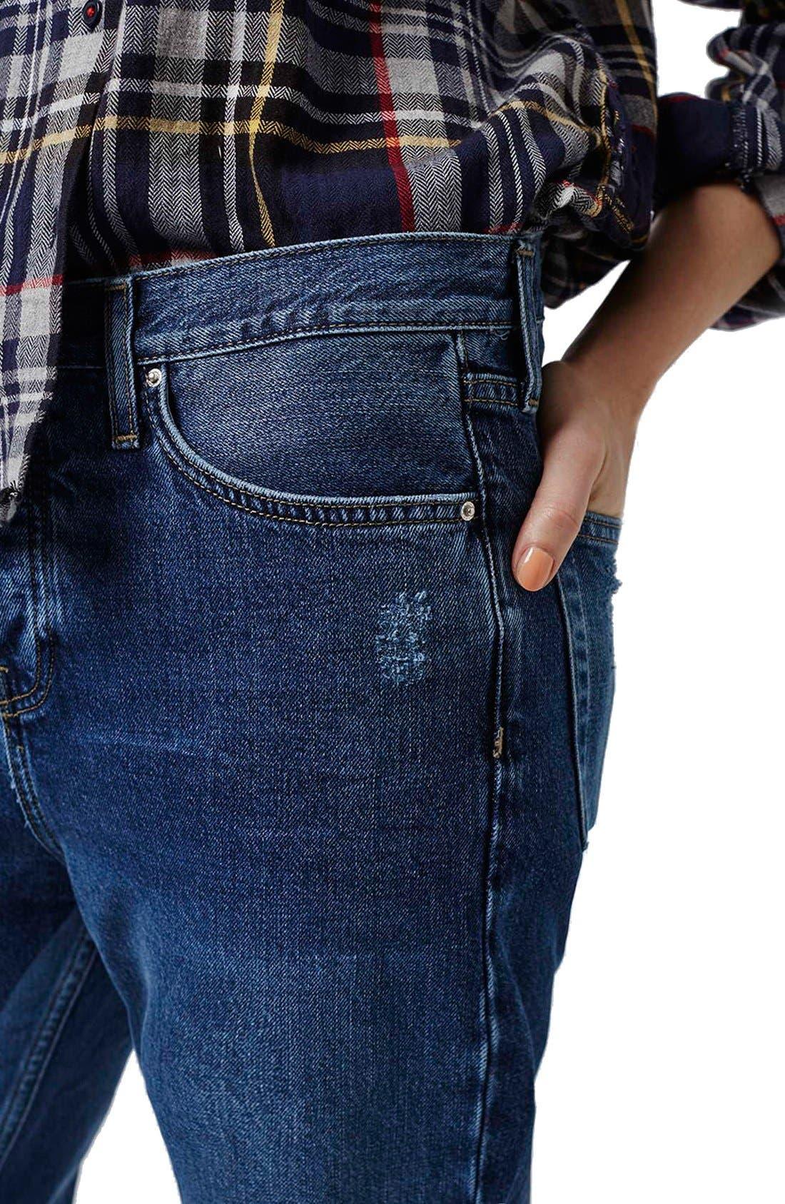 Alternate Image 4  - Topshop 'Patch' Two Tone High Rise Boyfriend Jeans