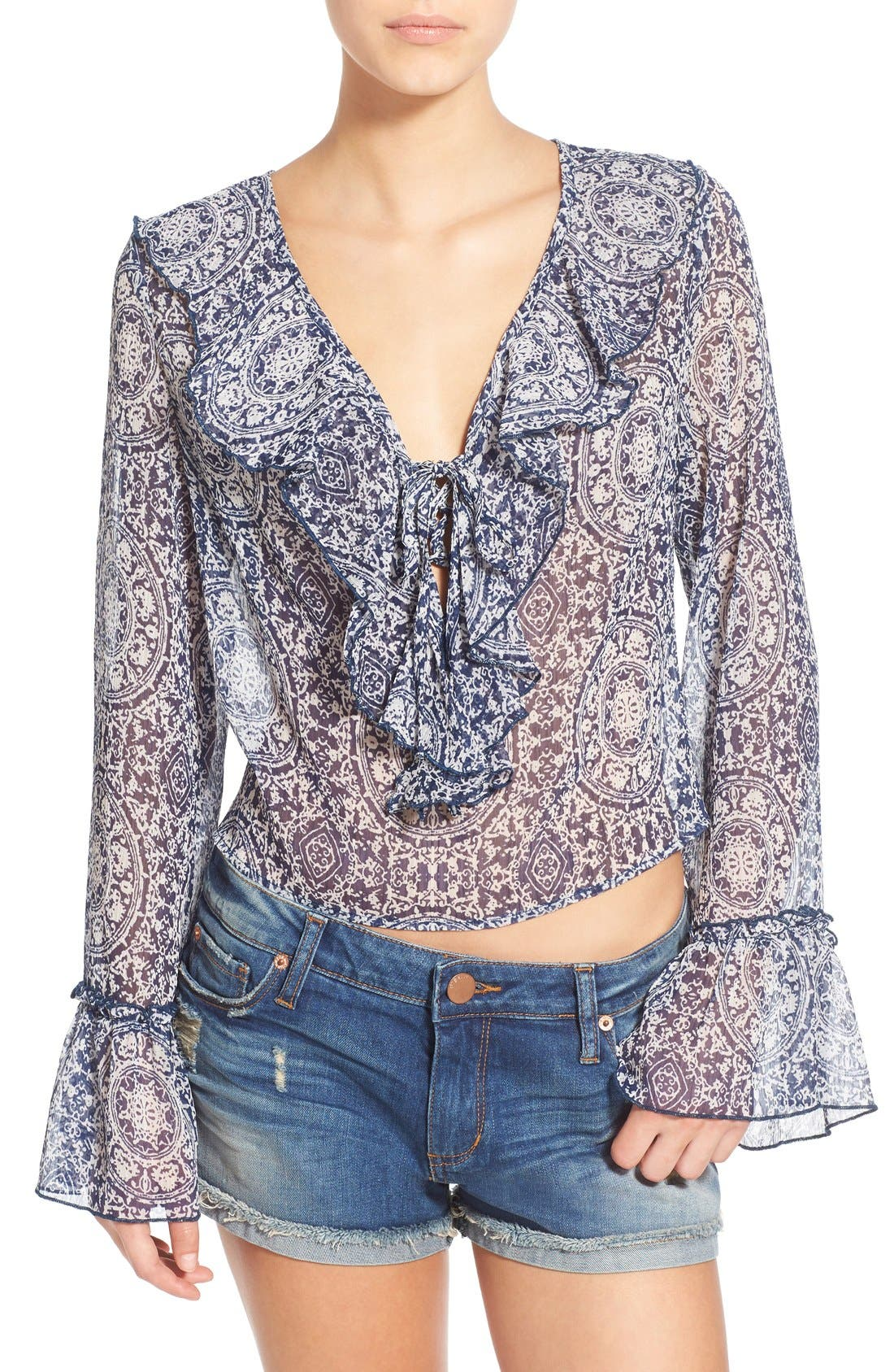 Alternate Image 1 Selected - Band of Gypsies Ruffle Front Sheer Blouse