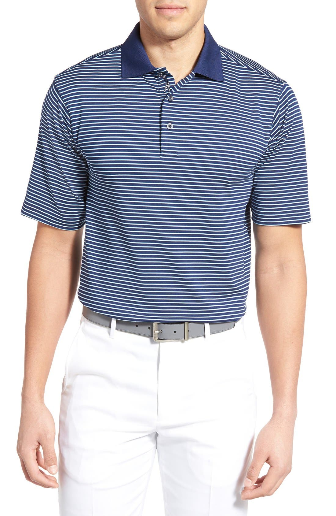BOBBY JONES XH2O Edge Stripe Stretch Golf Polo