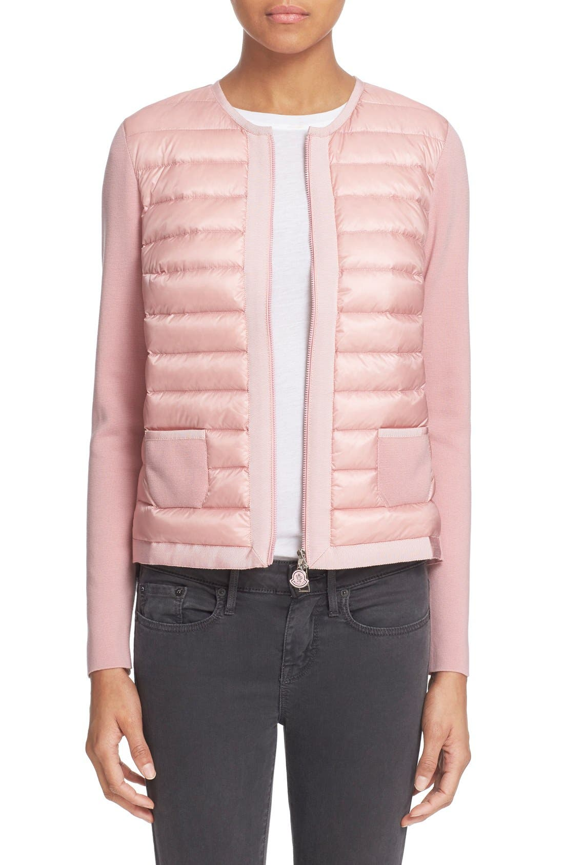 Main Image - Moncler 'Maglia' Quilted Down Front Tricot Cardigan