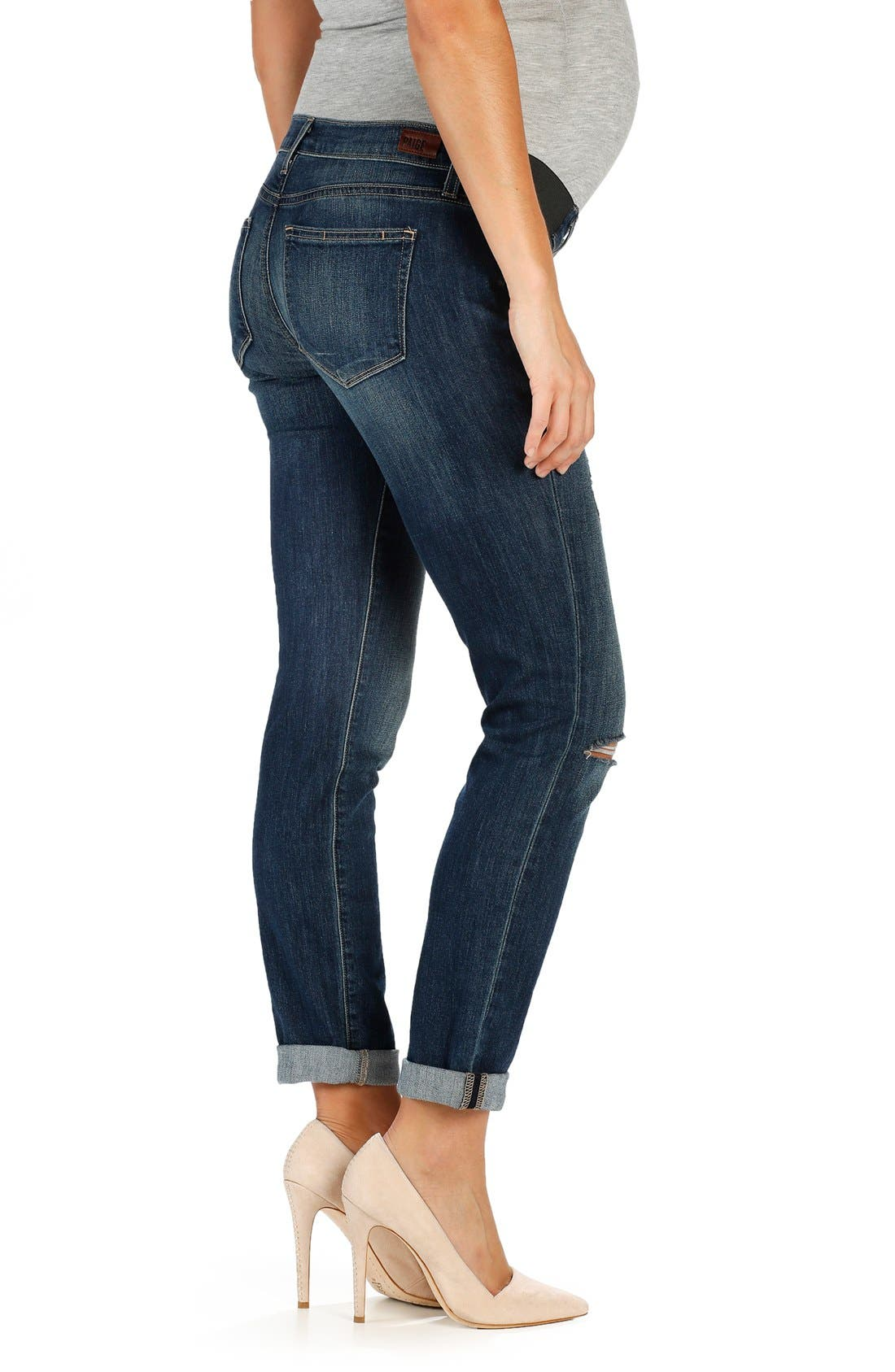 Alternate Image 2  - PAIGE 'Jimmy Jimmy' Boyfriend Skinny Maternity Jeans (Tawny Destructed)