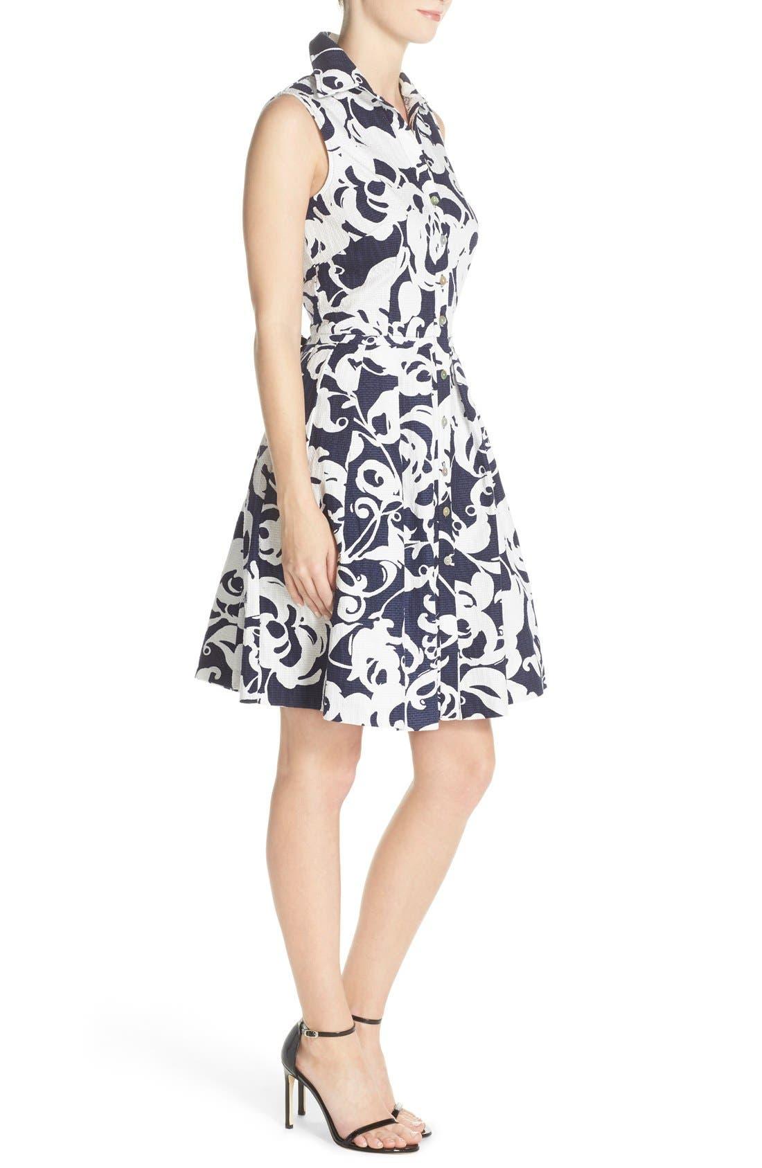 Alternate Image 3  - Taylor Dresses Print Jacquard Fit & Flare Shirtdress