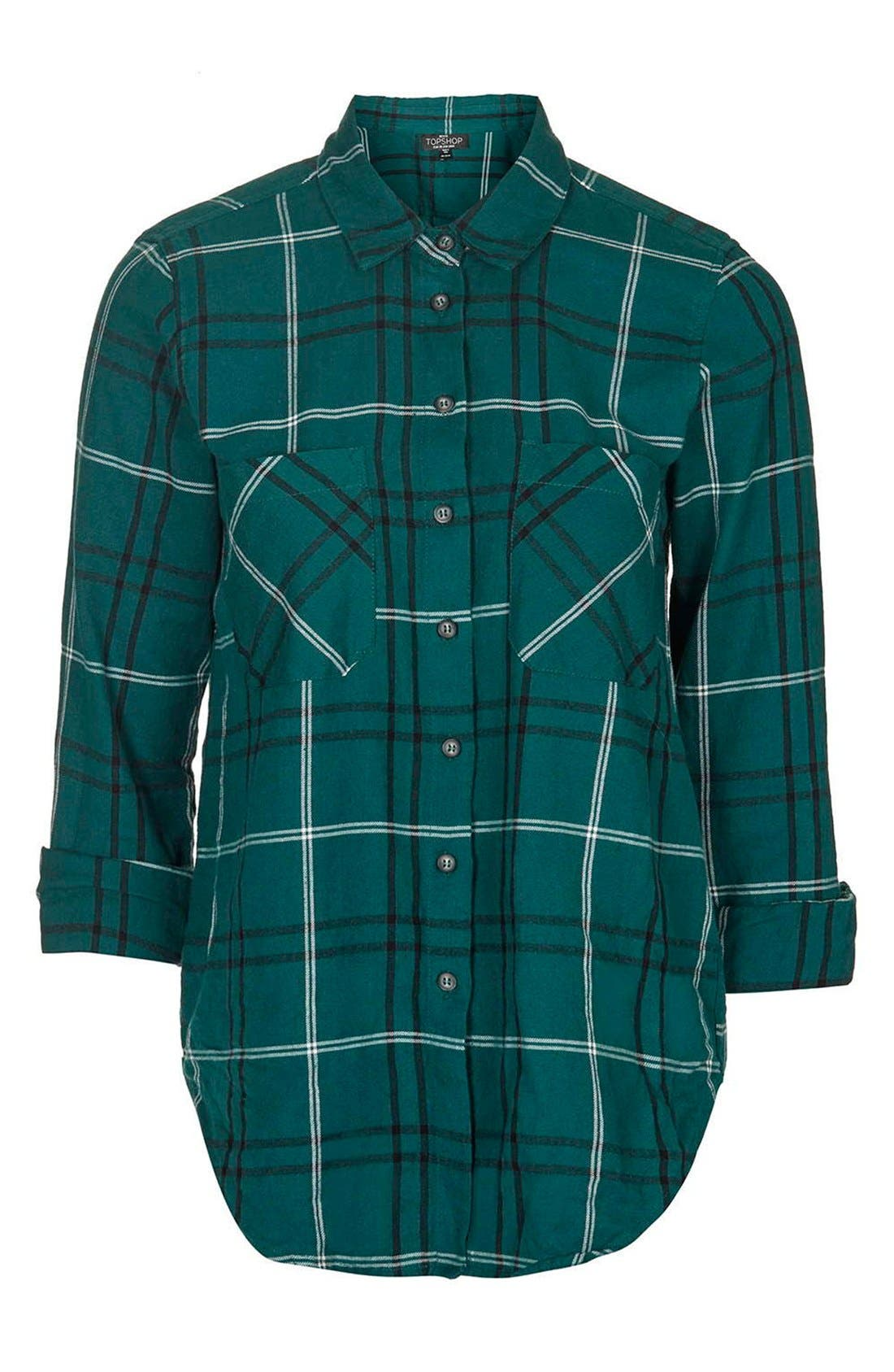 Alternate Image 4  - Topshop 'Billie' Check Plaid Shirt (Petite)