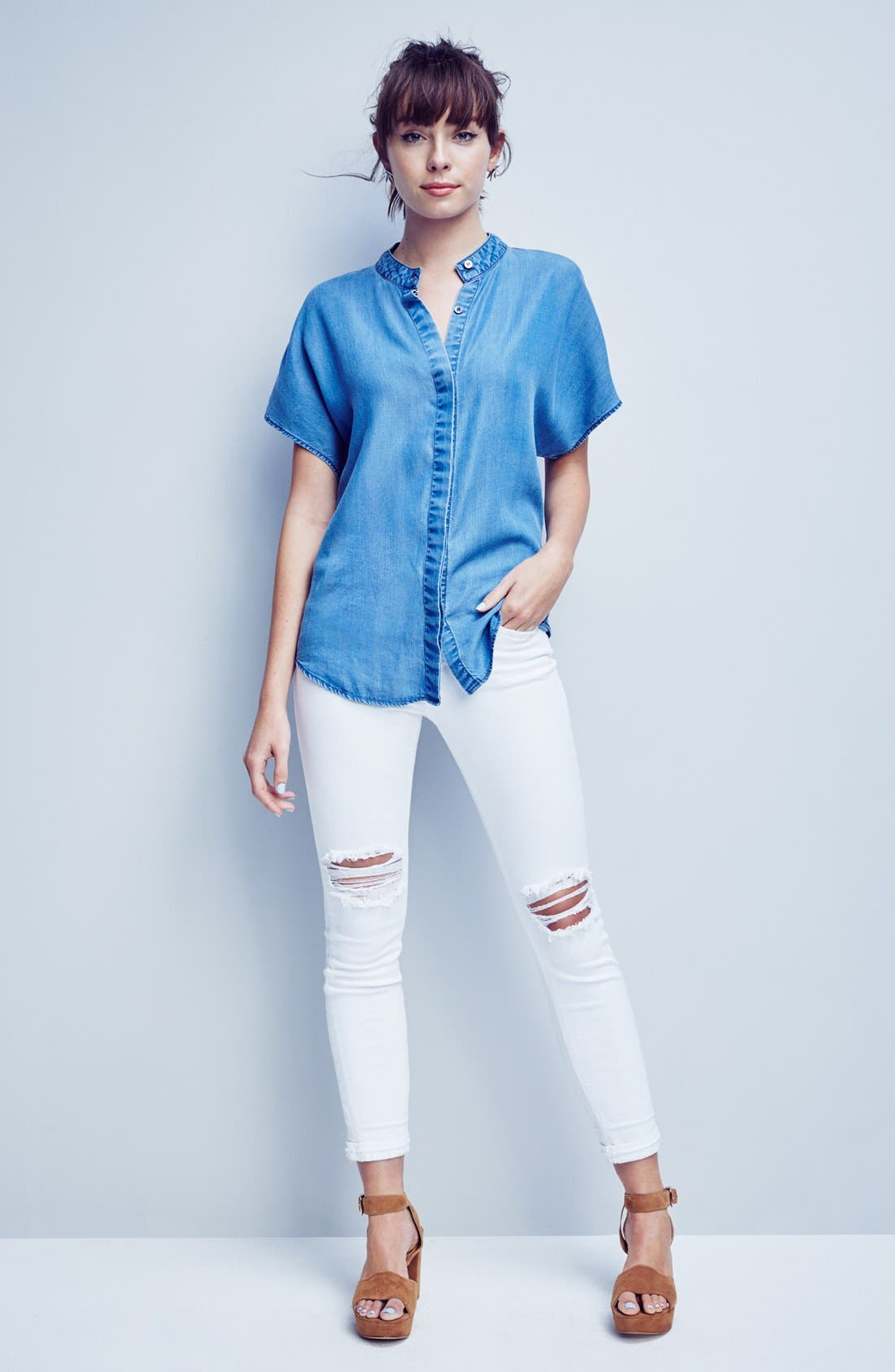 Alternate Image 6  - KENDALL + KYLIE Keyhole Back Chambray Top