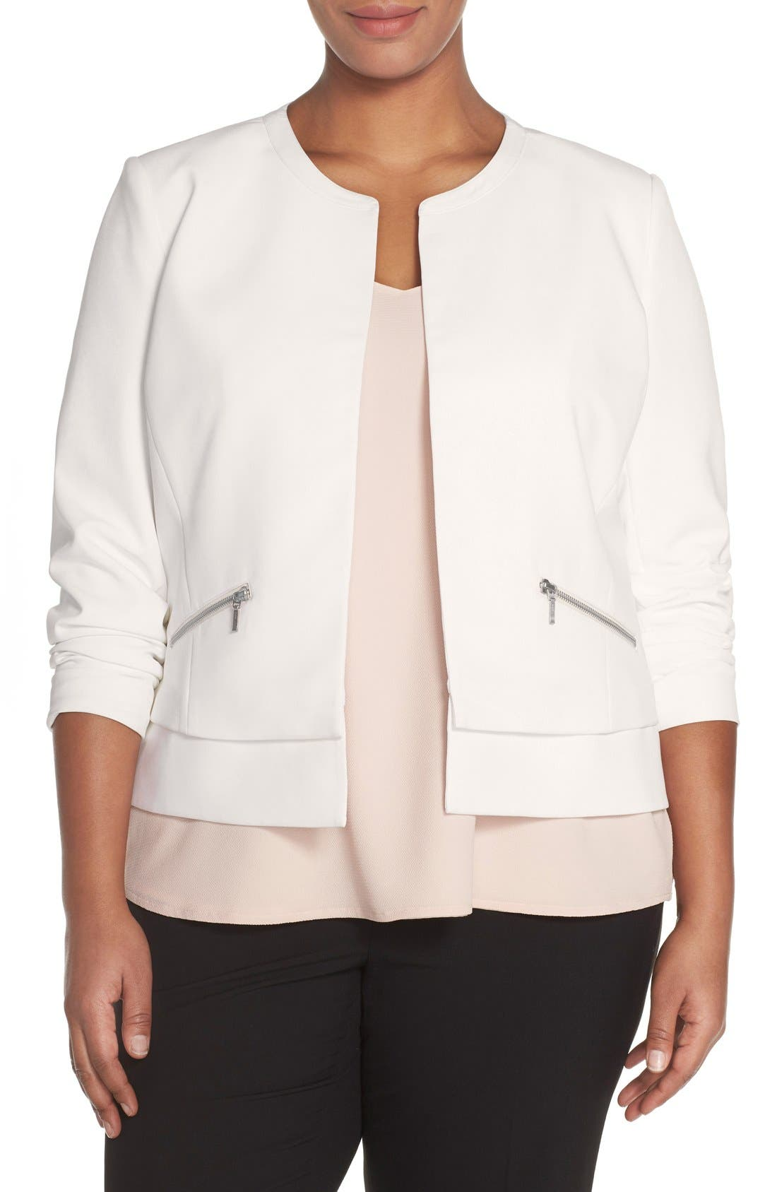 SEJOUR Collarless Boxy Twill Jacket
