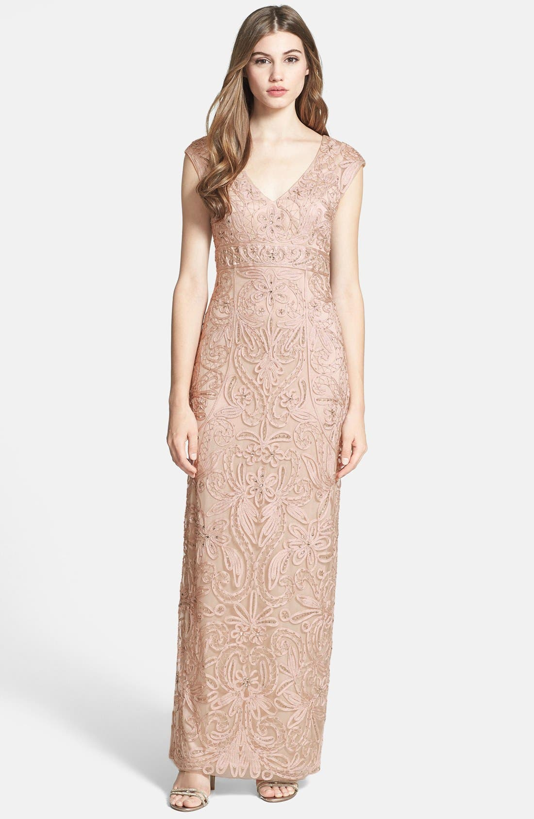 Alternate Image 1 Selected - Sue Wong Embellished Illusion Back Gown
