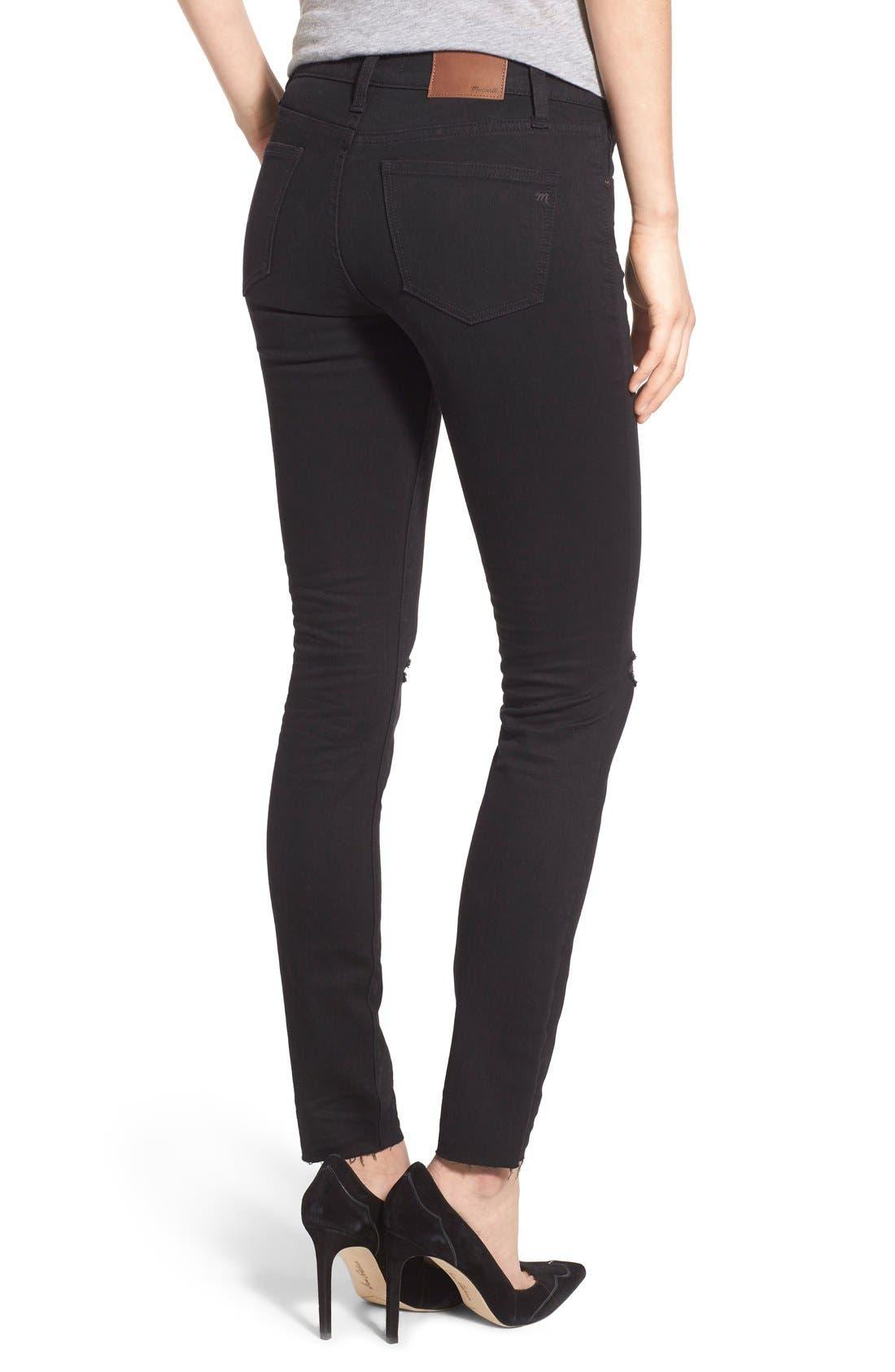 Alternate Image 2  - Madewell 'Skinny Skinny' Knee Rip Jeans (Trent Wash) (Long)