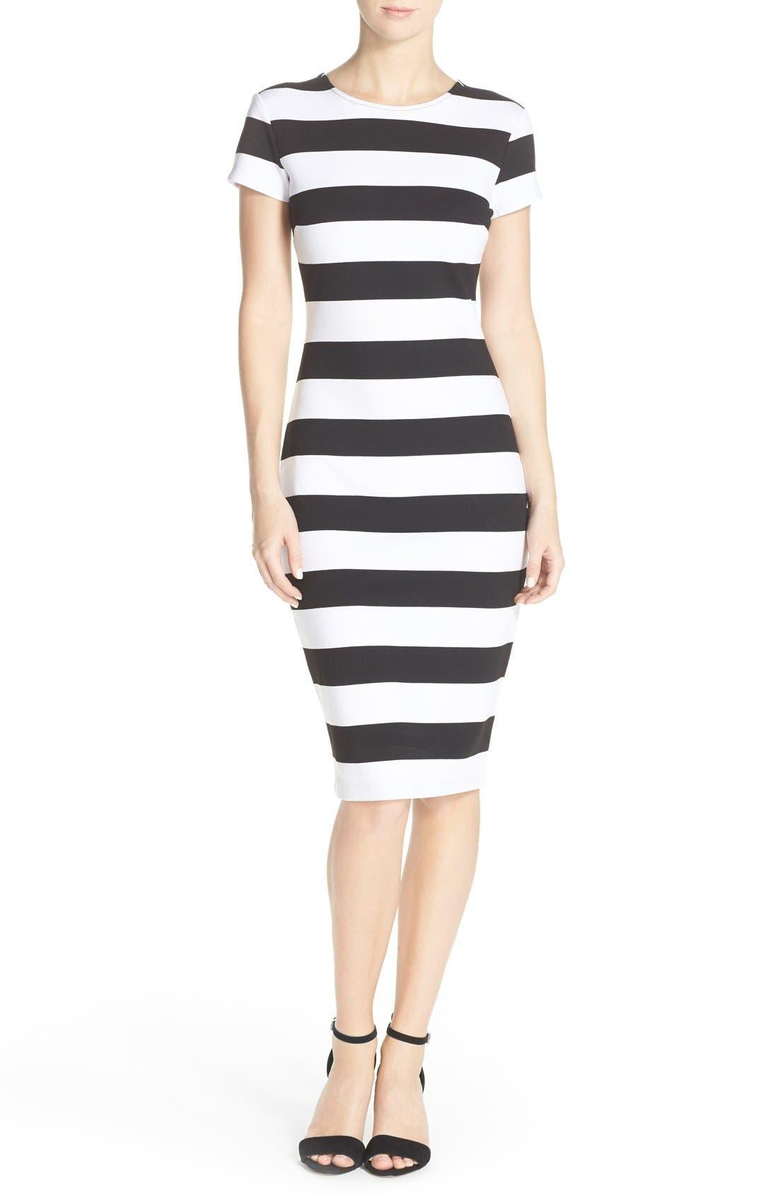 Main Image - Felicity & Coco Stripe Midi Sheath Dress (Nordstrom Exclusive)