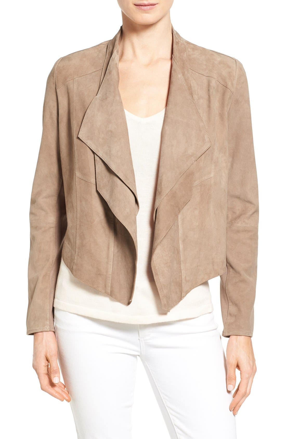 Alternate Image 1 Selected - LAMARQUE Double Collar Suede Jacket