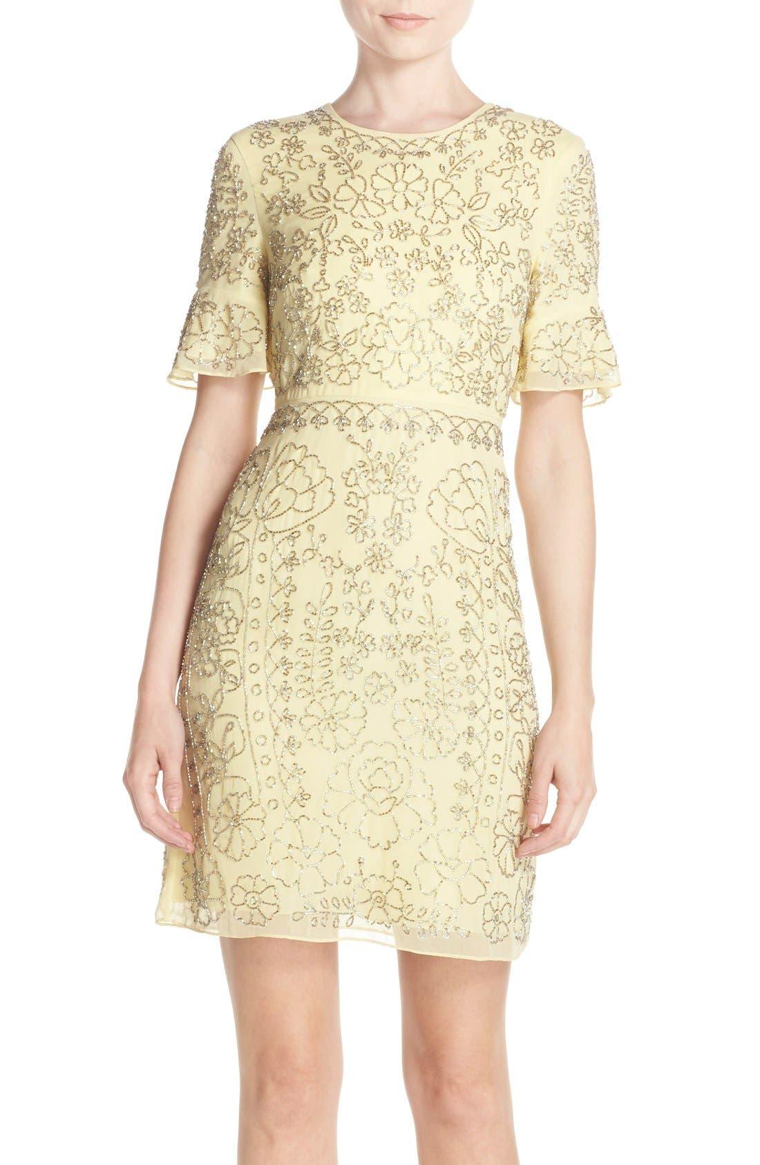 Main Image - Needle & Thread Beaded Georgette Sheath Dress