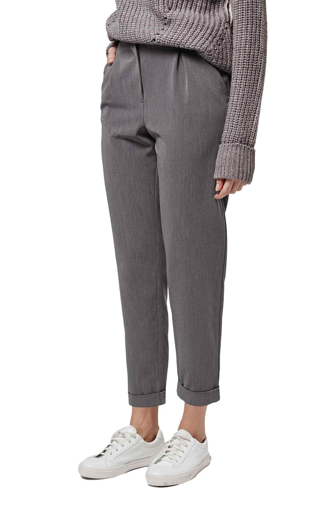 Main Image - Topshop Notch Back Tapered Trousers (Petite)