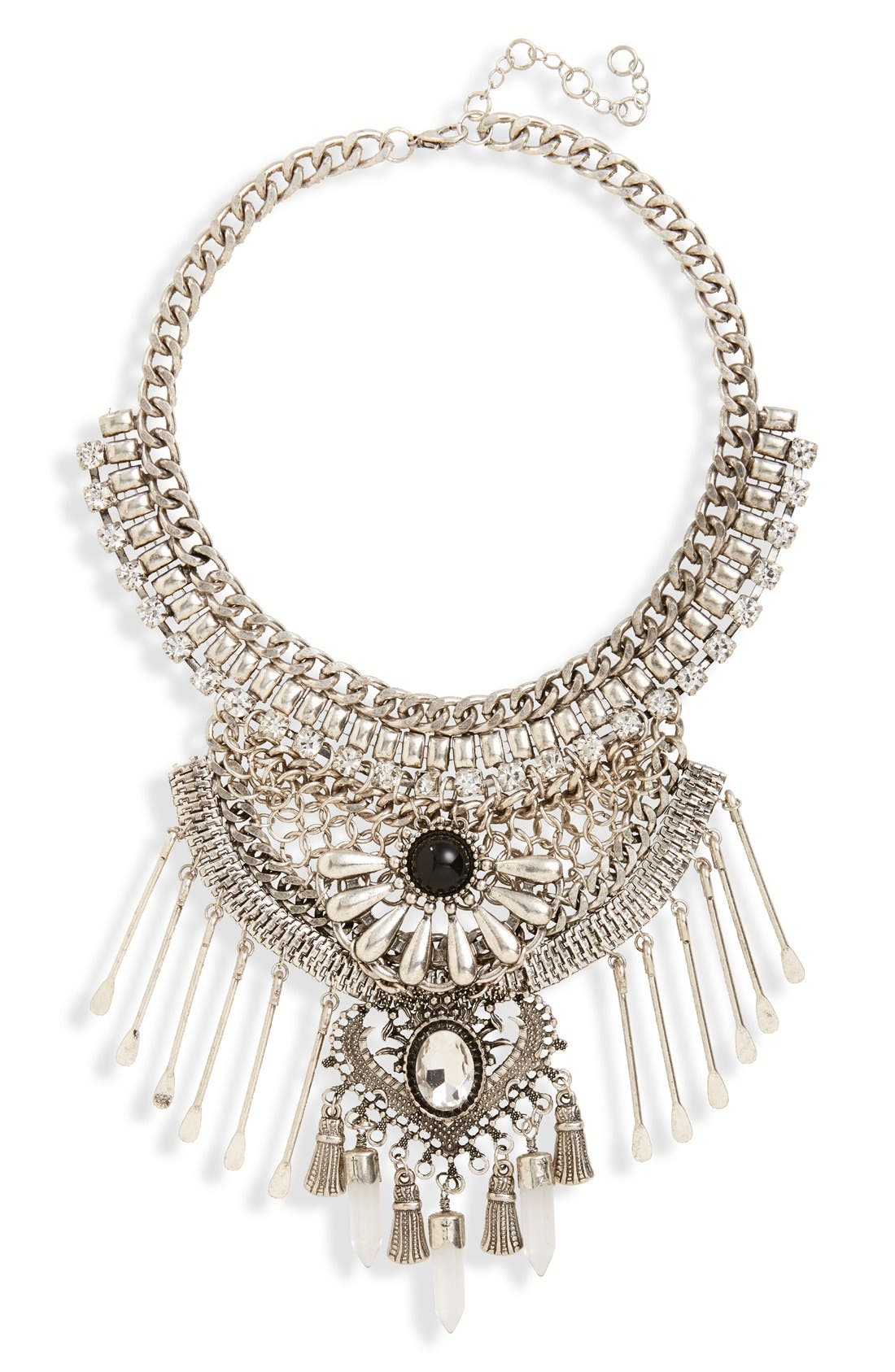 Alternate Image 1 Selected - Leith Stone & Spoon Charm Statement Necklace